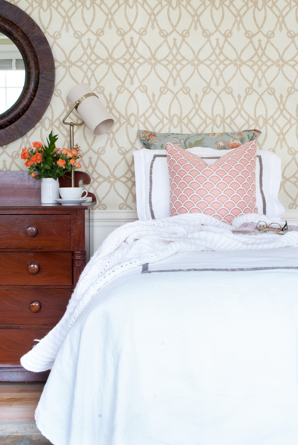 quality twin bedding from pemberley rose  the chronicles of home - classic bedroom with white duvet soft graphic wallpaper dusty blue andblush accents