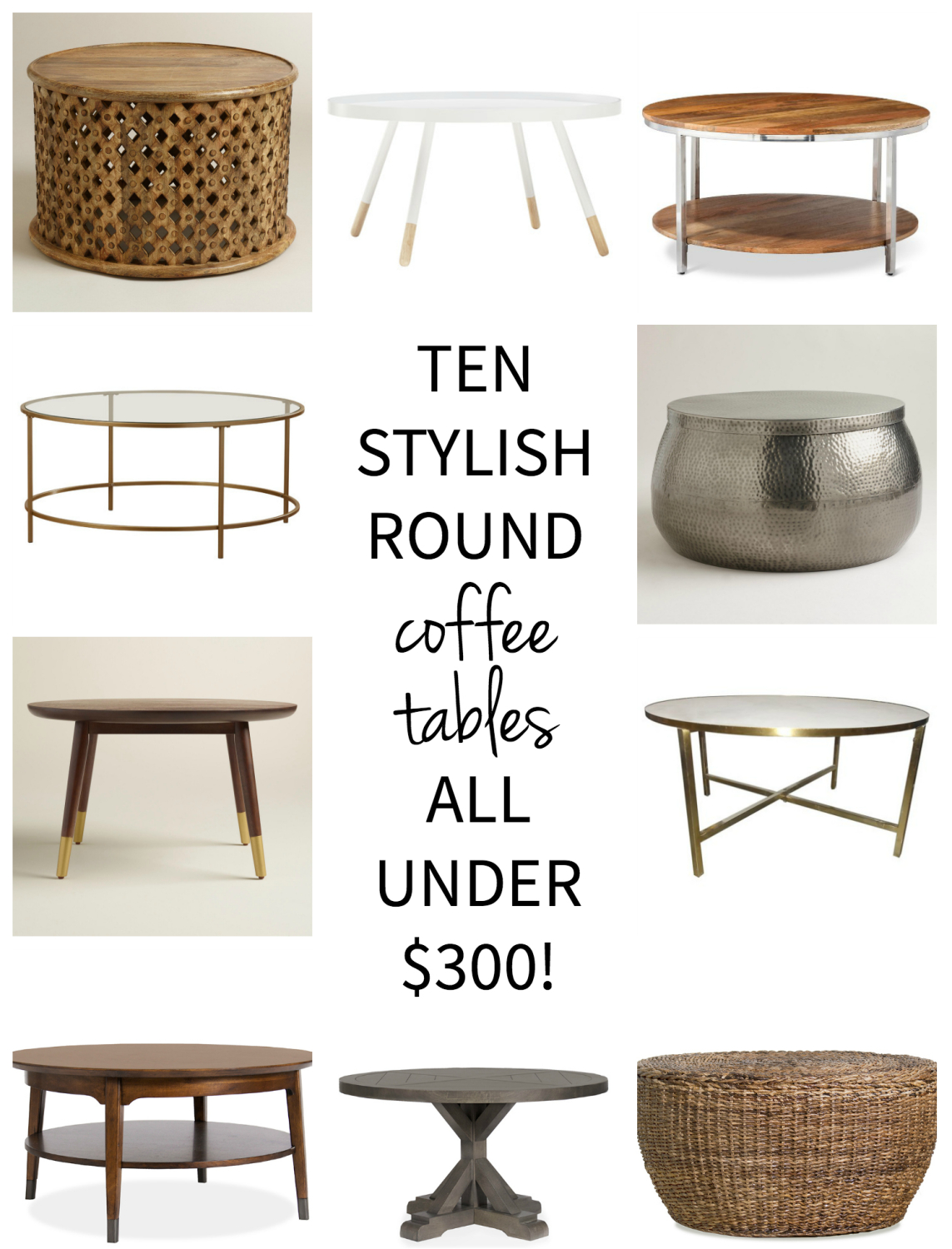 Ten affordable round coffee tables, all gorgeous and all under $300! - Affordable Round Coffee Tables - The Chronicles Of Home