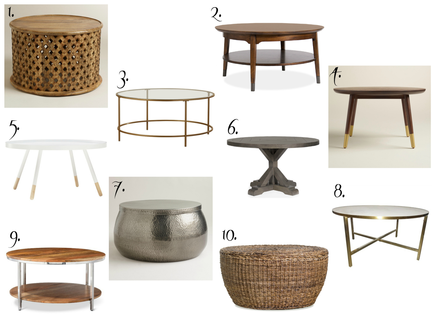 Ten affordable round coffee tables, all gorgeous and all under $300!