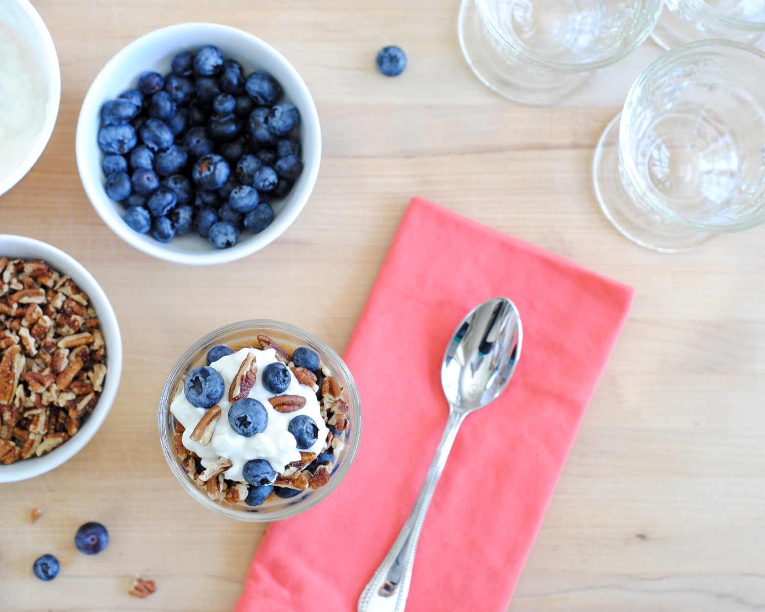 Cottage cheese parfait with spiced applesauce, blueberries, and pecans. Perfect for a healthy, protein-packed, calcium-rich breakfast, lunch, snack or dessert. Seriously TO DIE FOR!!