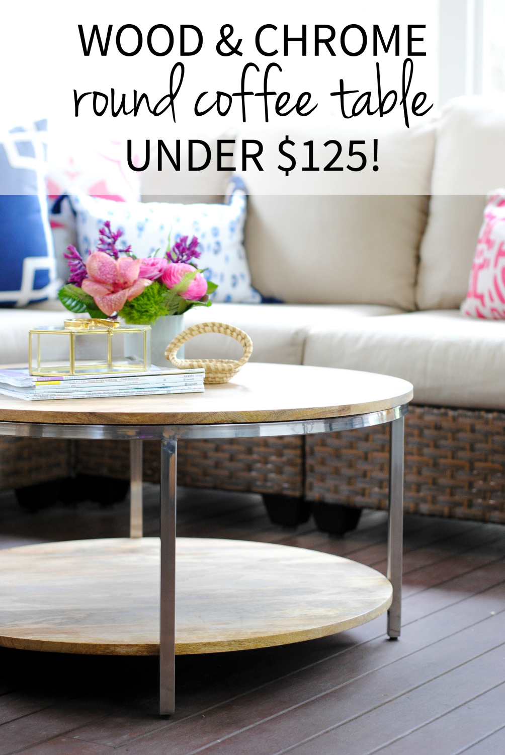 Classic wood and chrome round coffee table on a budget - amazing deal for a beautiful table!