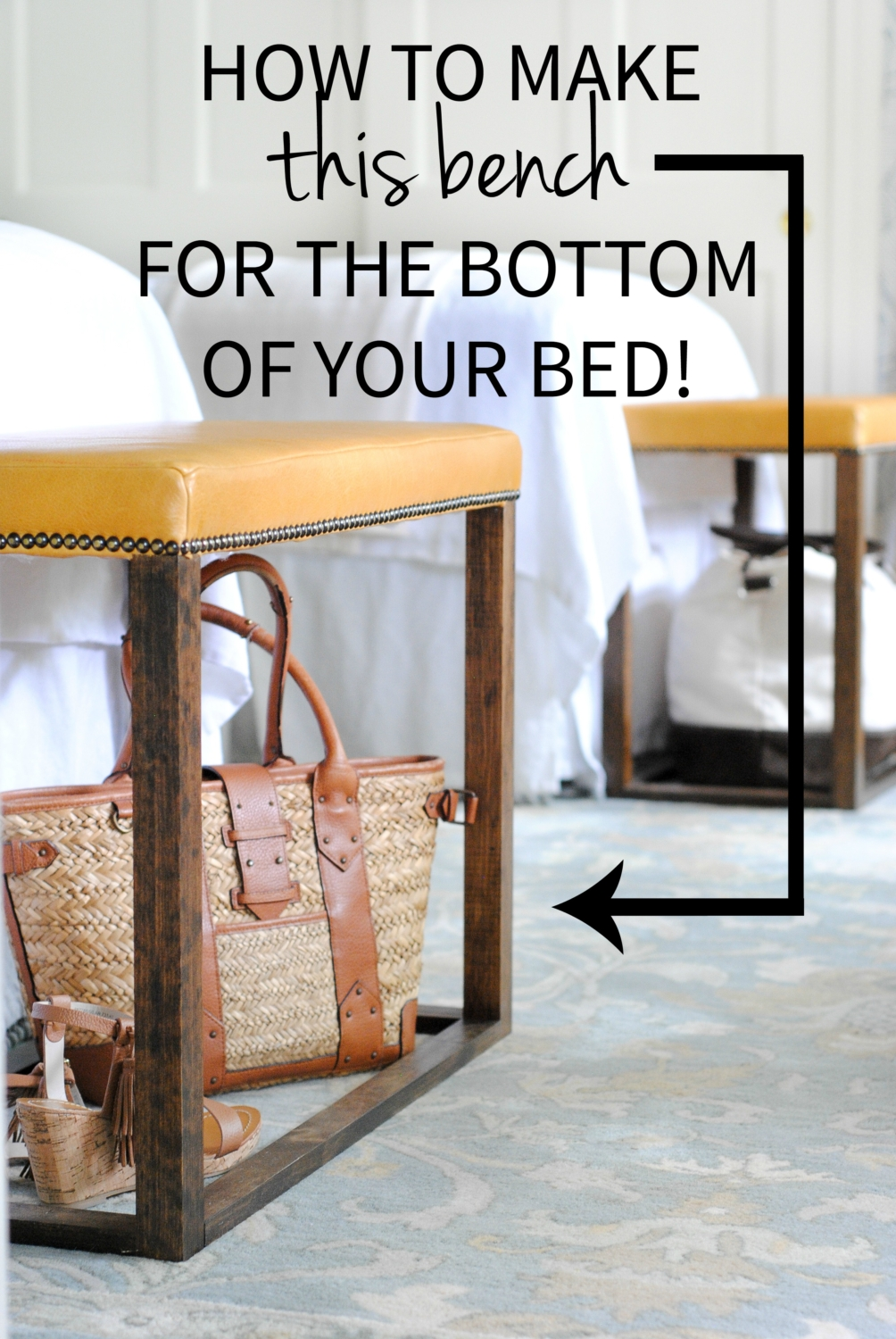 DIY Leather Bed Bench   How To Make Gorgeous Leather Benches For The Foot  Of The
