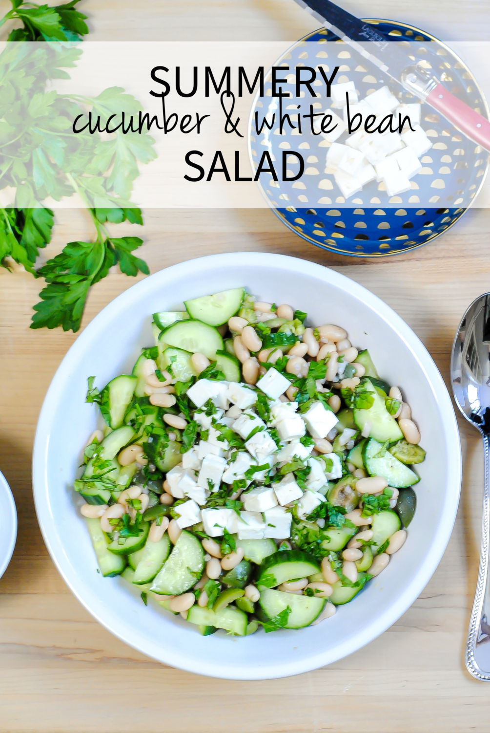 Perfect easy summer cucumber and white bean salad - so simple and so super delicious! An excellent vegetarian meal or side salad with grilled fish and meats.