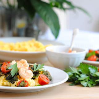 Healthy Shrimp and Grits with Collard Greens