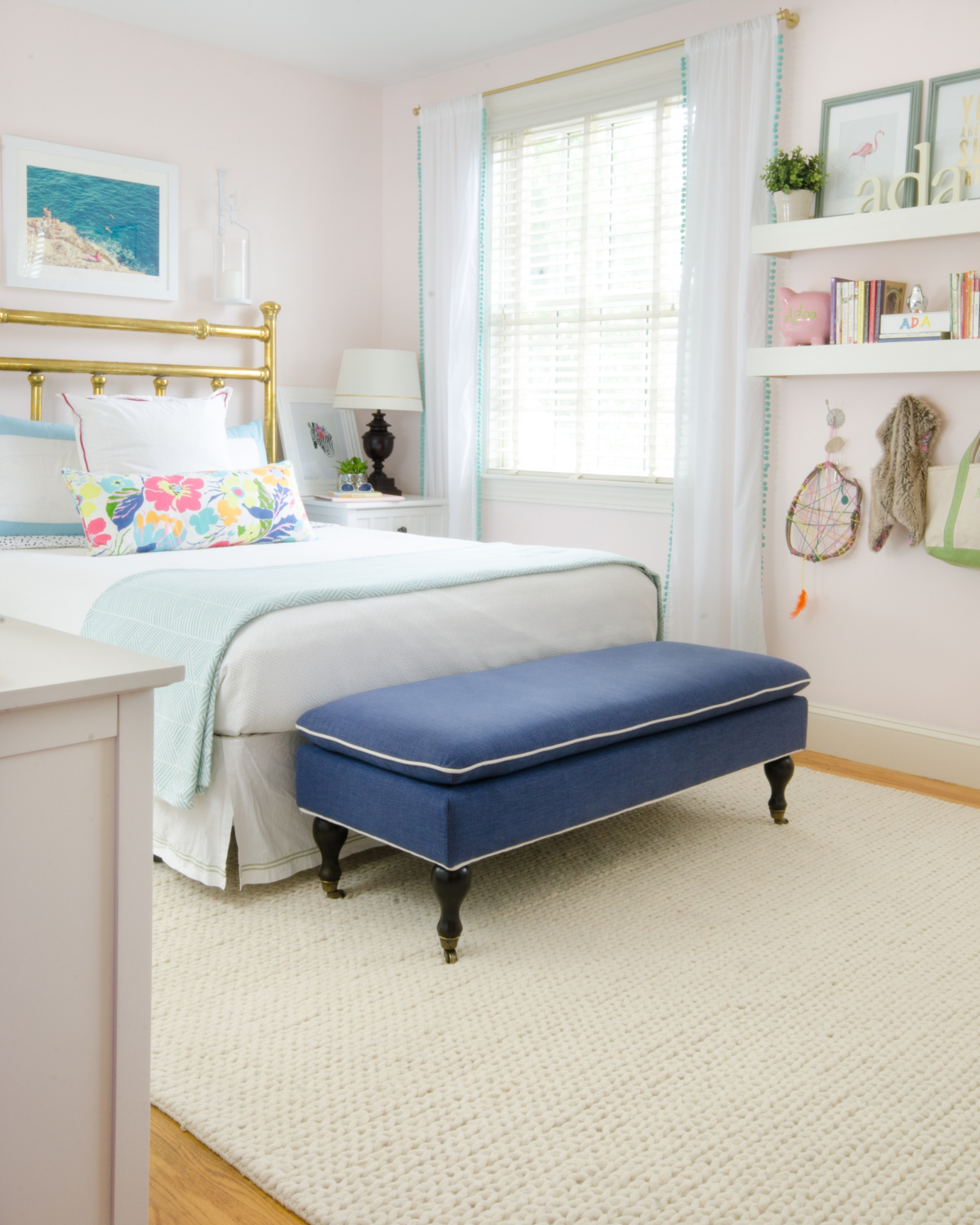 Gorgeous ageless chic big girl bedroom featuring