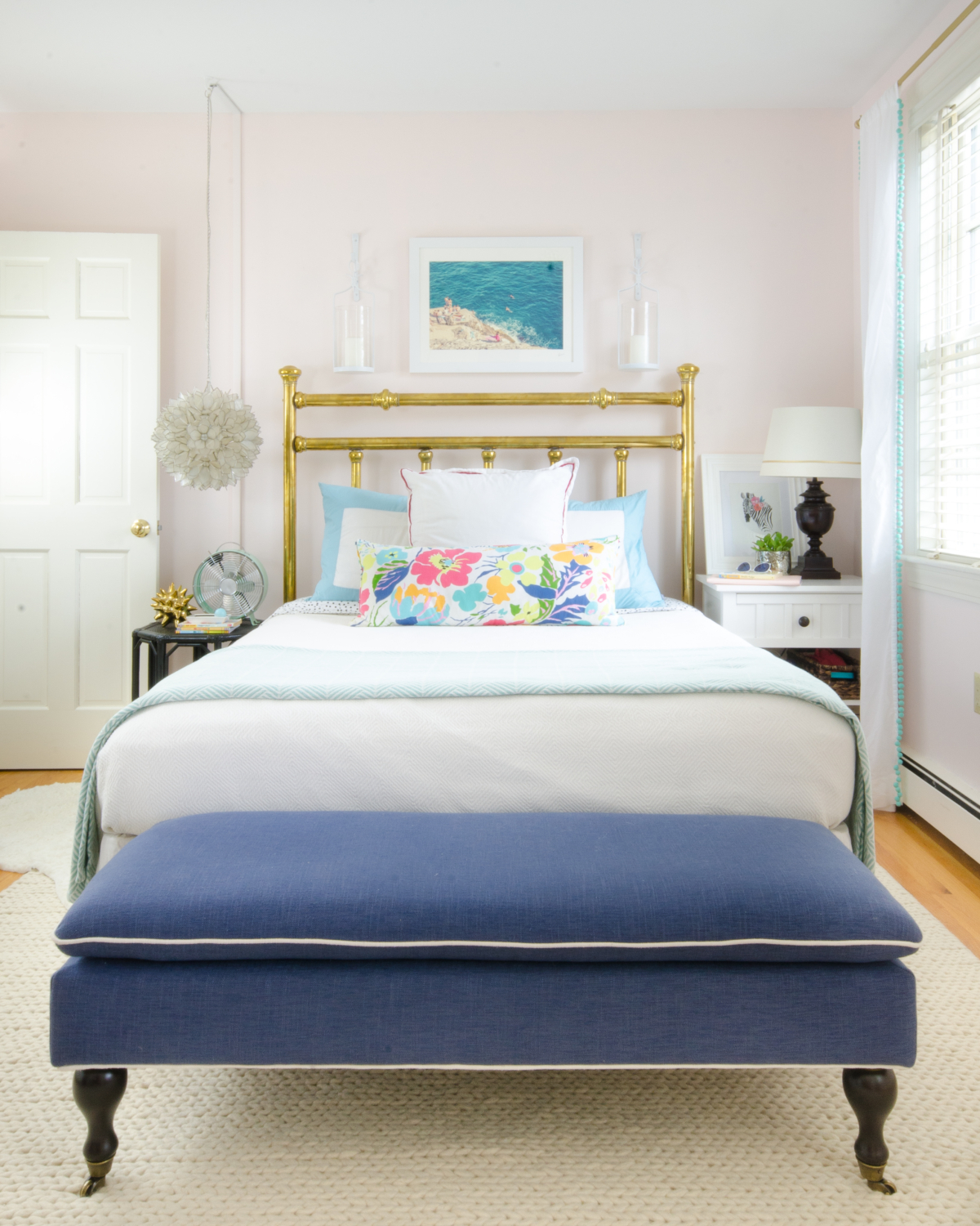 girl bedroom turquoise pink aqua navy-2-Gorgeous, ageless, chic big girl bedroom featuring white, aqua, navy blue, and blush pink