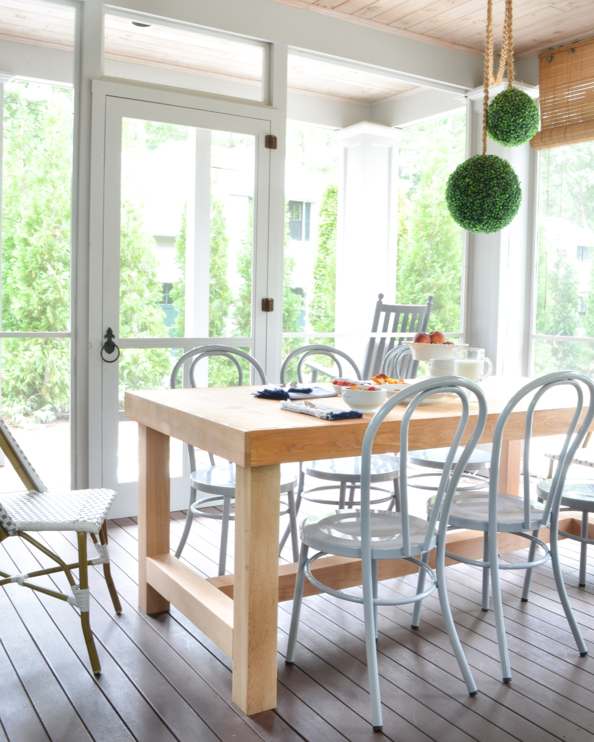 Screened Porch Updates - Metal Bentwood Chairs and a DIY Dining ...
