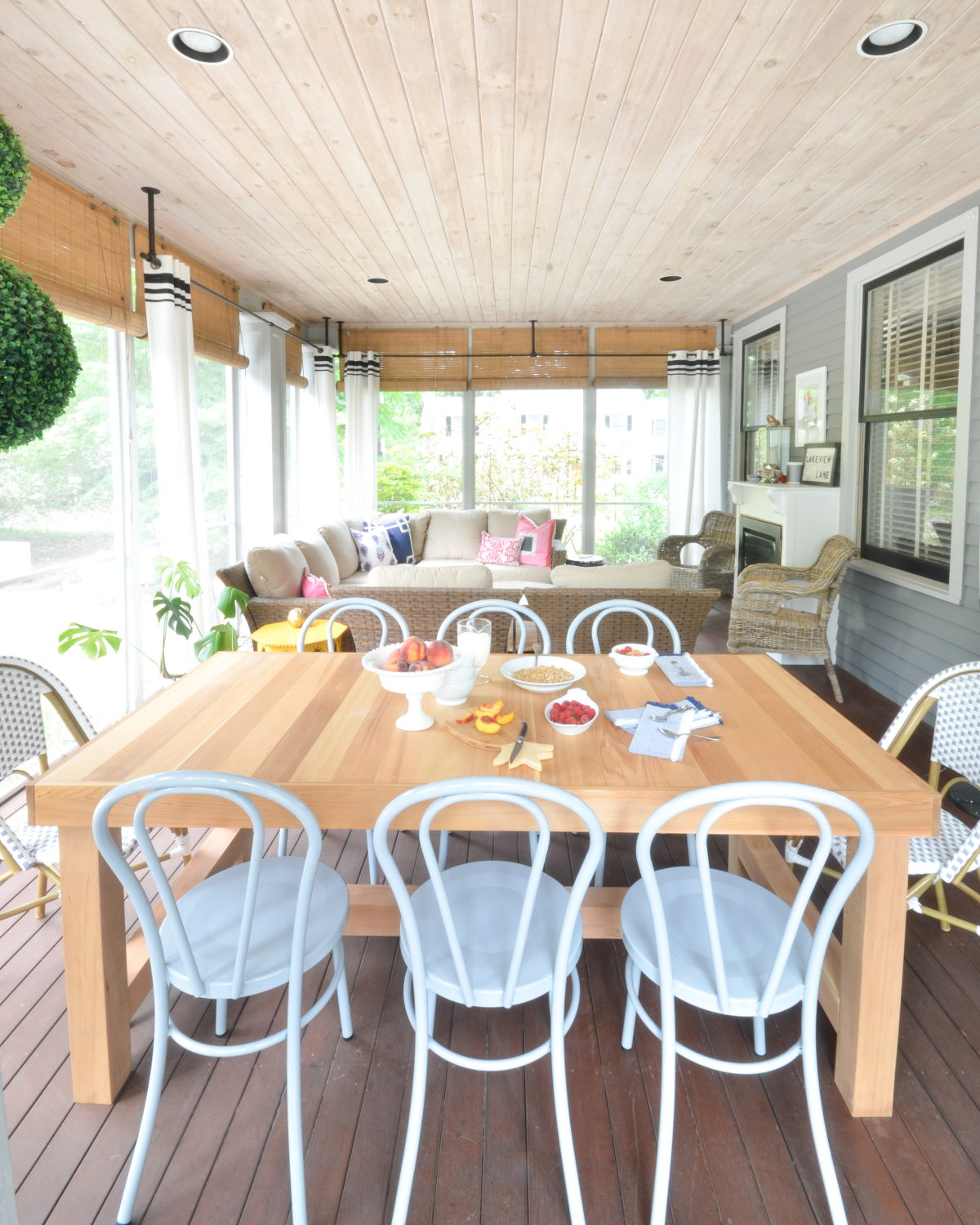 Screened Porch Updates Metal Bentwood Chairs And A Diy