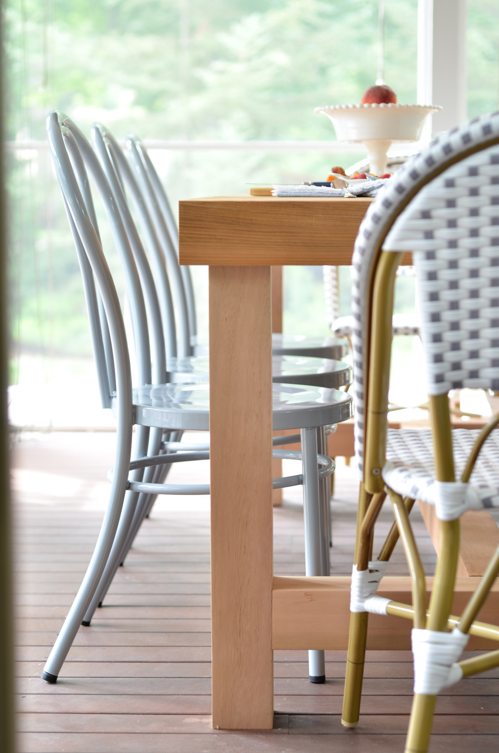 Screened porch updates metal bentwood chairs and a diy for Restoration hardware outdoor dining