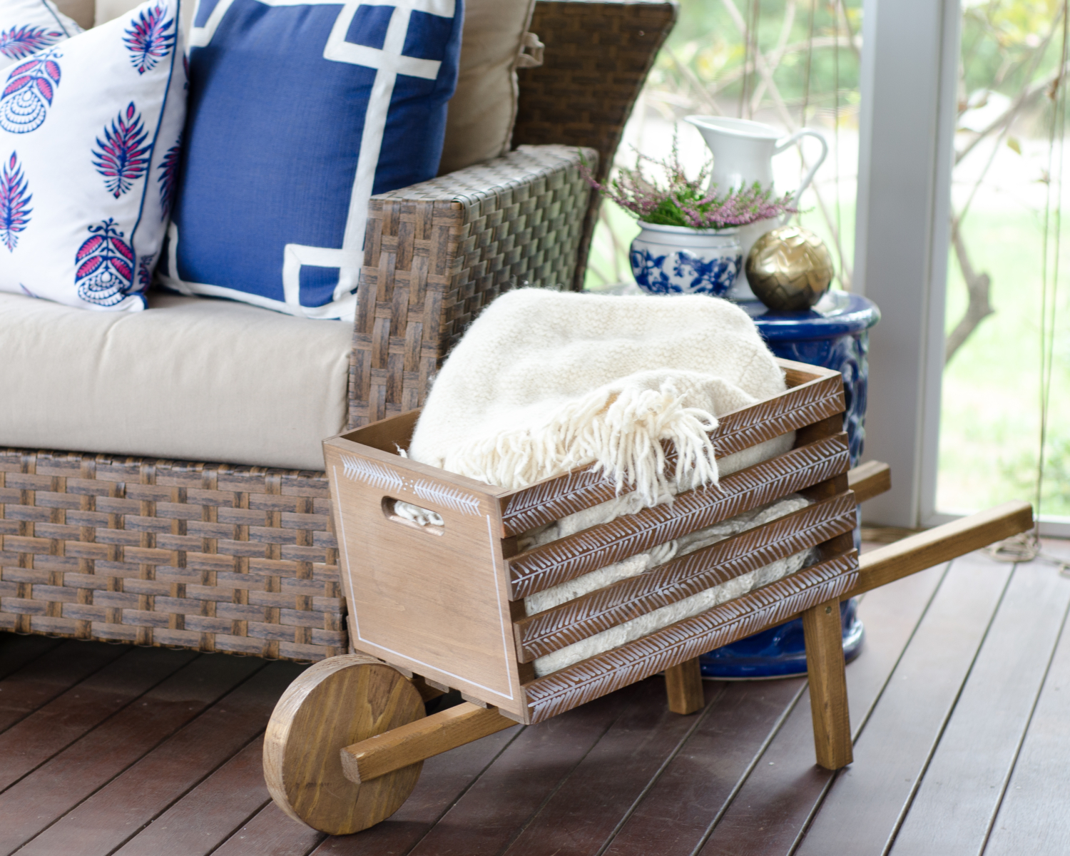 A DIY rustic wheelbarrow with a hand-painted herringbone pattern, perfect for all kinds of fall decorating! #DIHWorkshop #sponsored