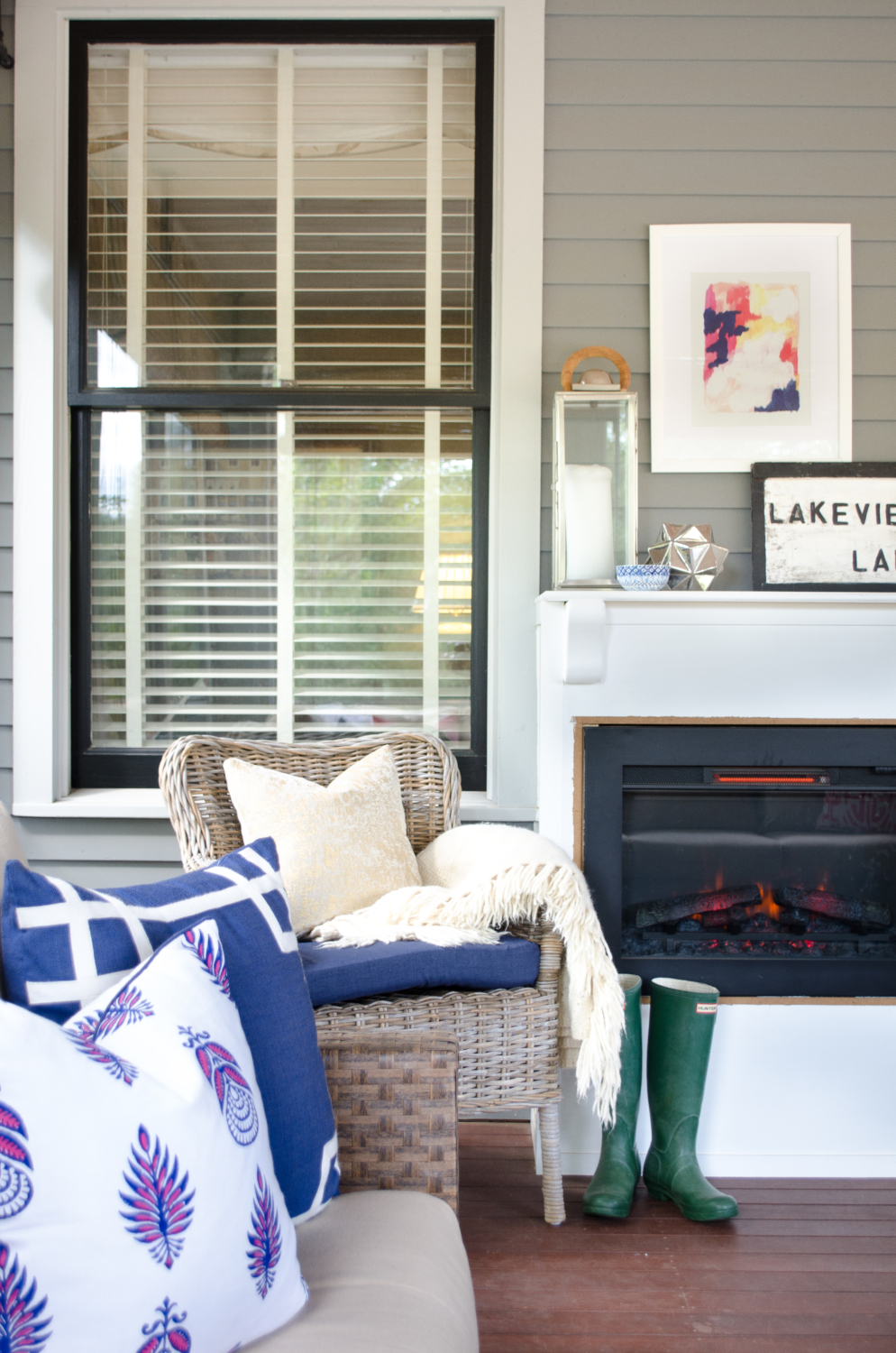 Fall porch with electric fireplace