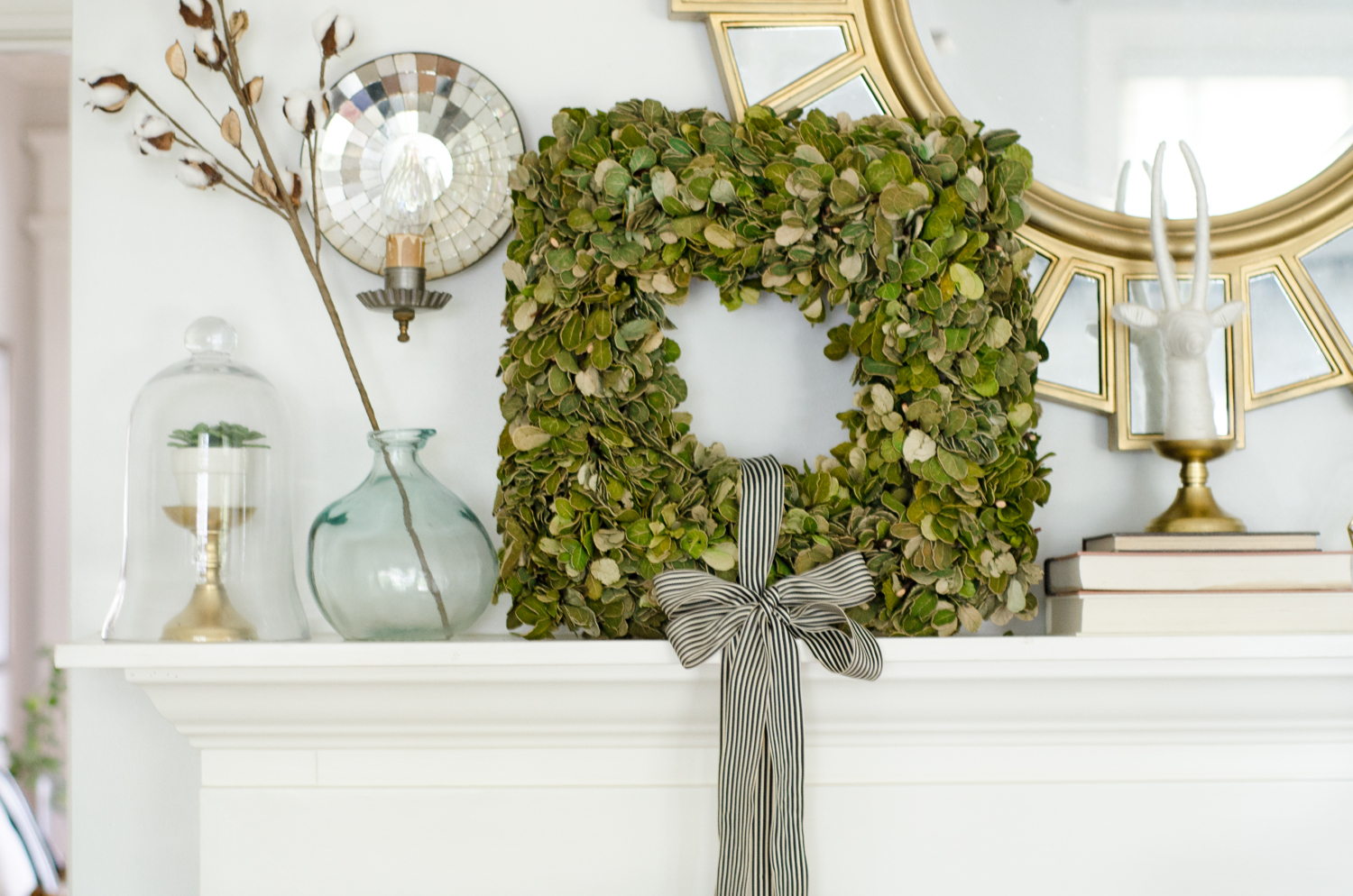 Classic layered fall mantle with green, gold, white, and teal