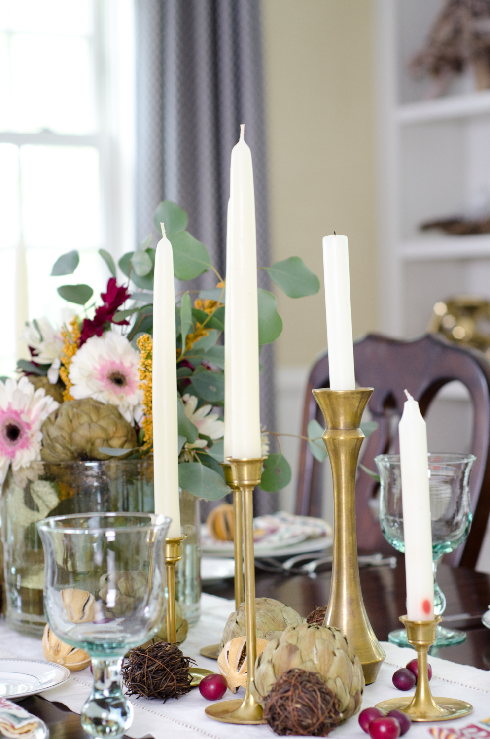 Easy classic fall tablescape with purple, yellow, and green