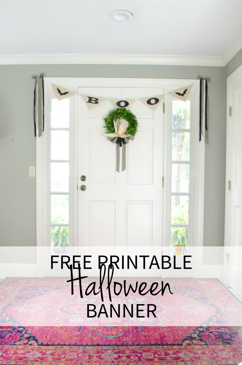 A simple Halloween banner you can print out at home for free - can't beat free Halloween decorations!