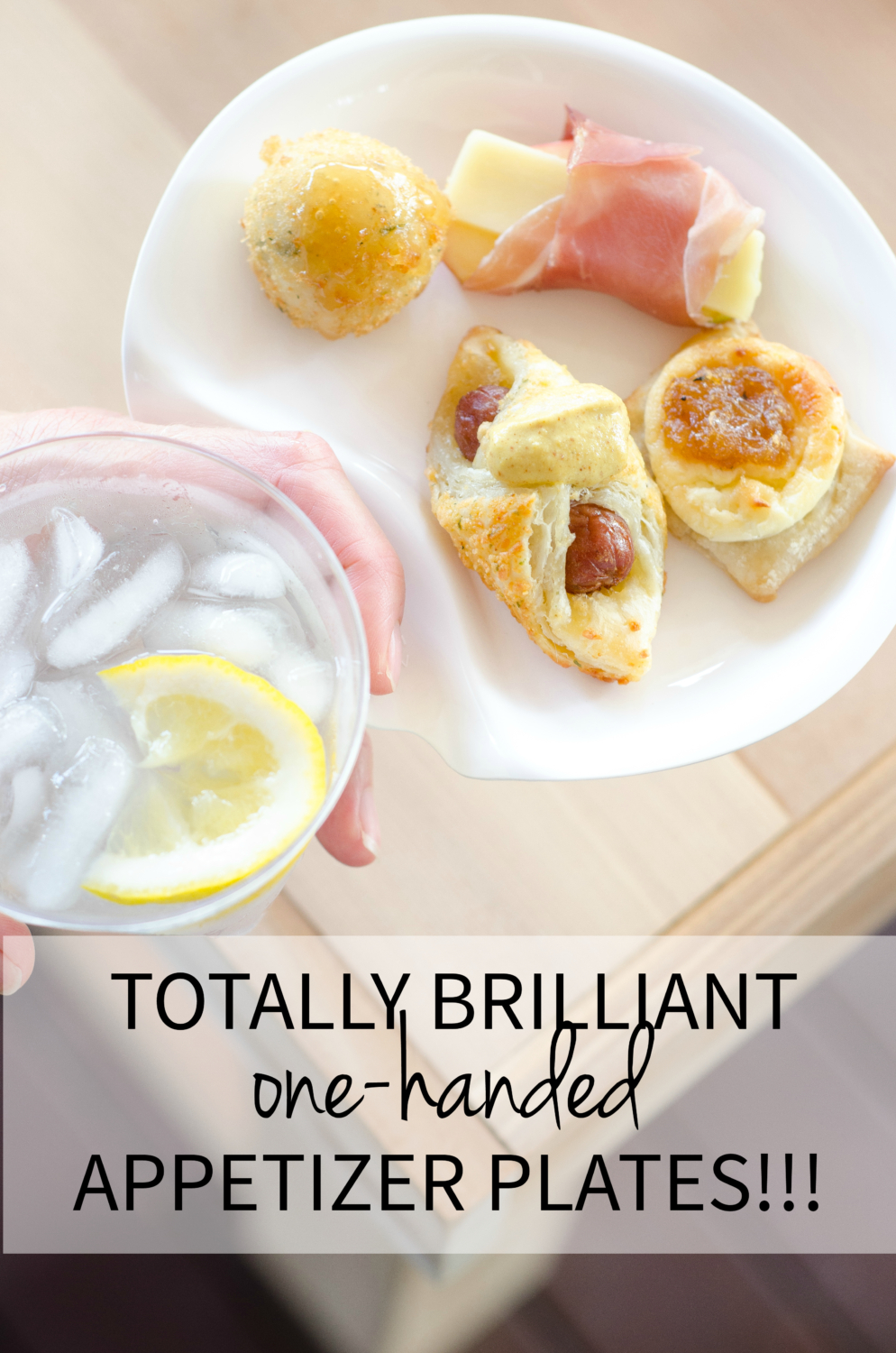 The most amazing thing to happen to your next cocktail party - appetizer plates that can be held in one hand with a drink, leaving you with a free hand for actually eating!! #ad