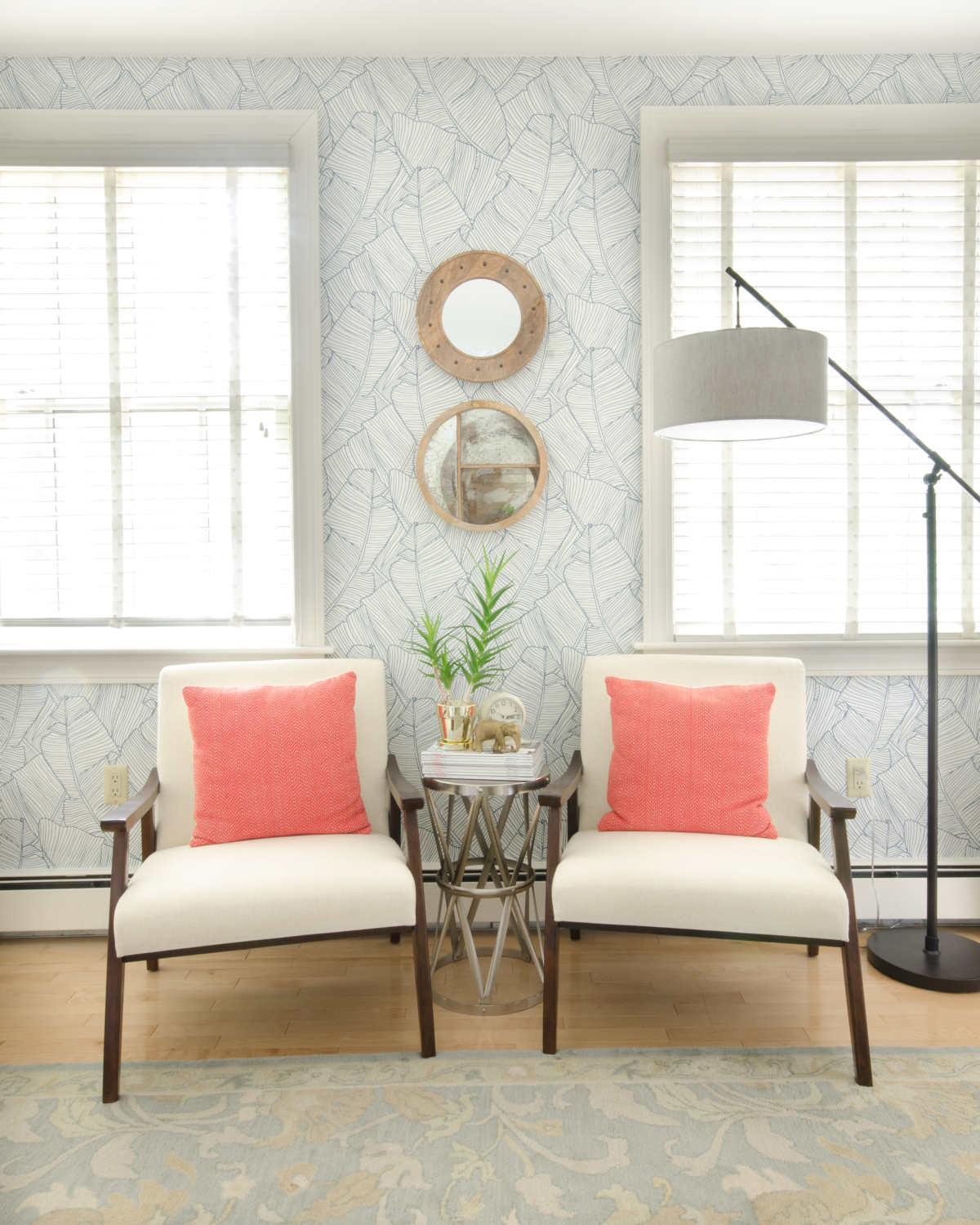 Amazing guest room makeover, you won't even believe the before and after!! Colorful, classic guest room with teal, coral, blush, kelly green, and white. Budget-conscious and lots of amazing DIY projects!