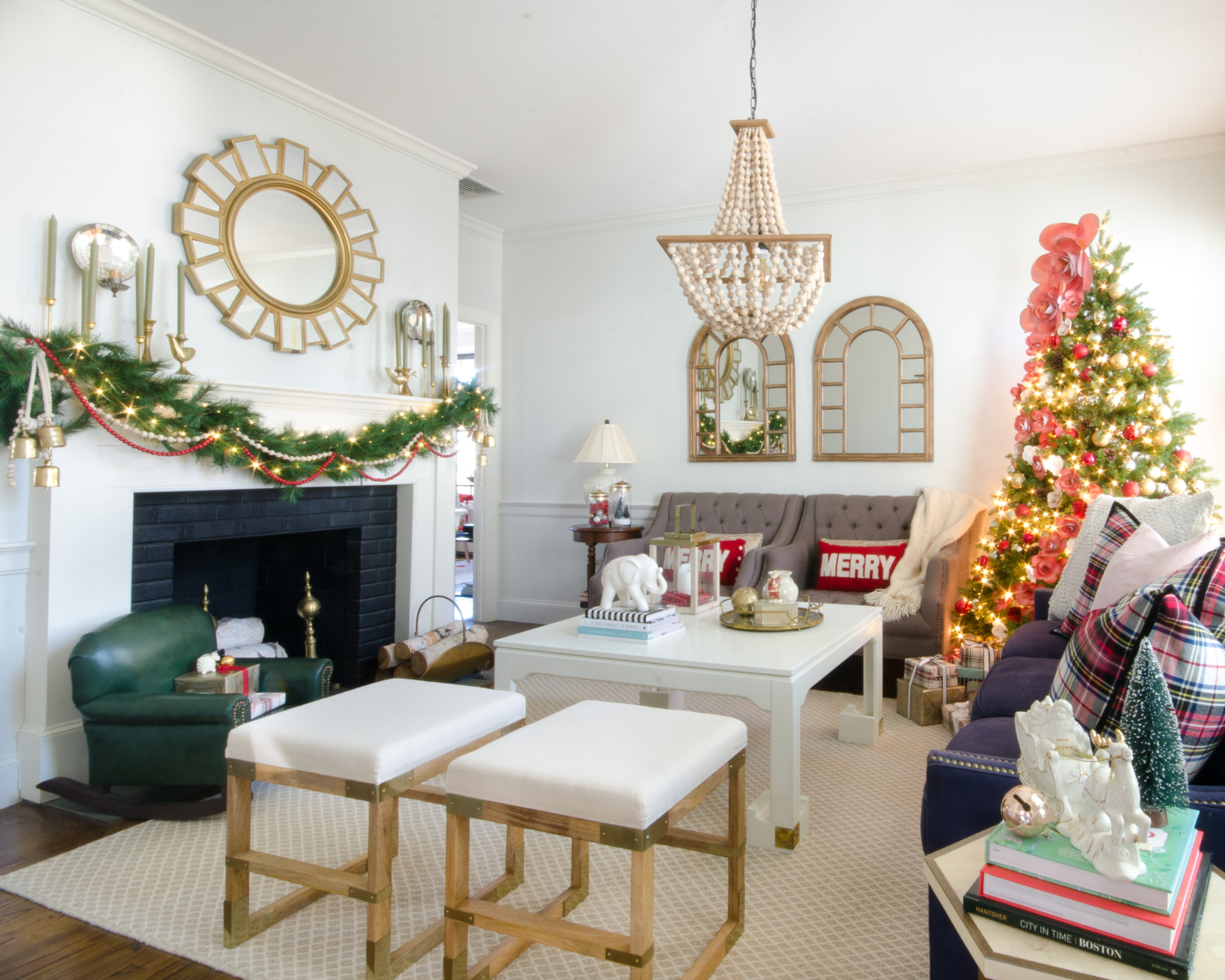 Classic Christmas living room with green, red, and a fantastic flower tree you will not believe!
