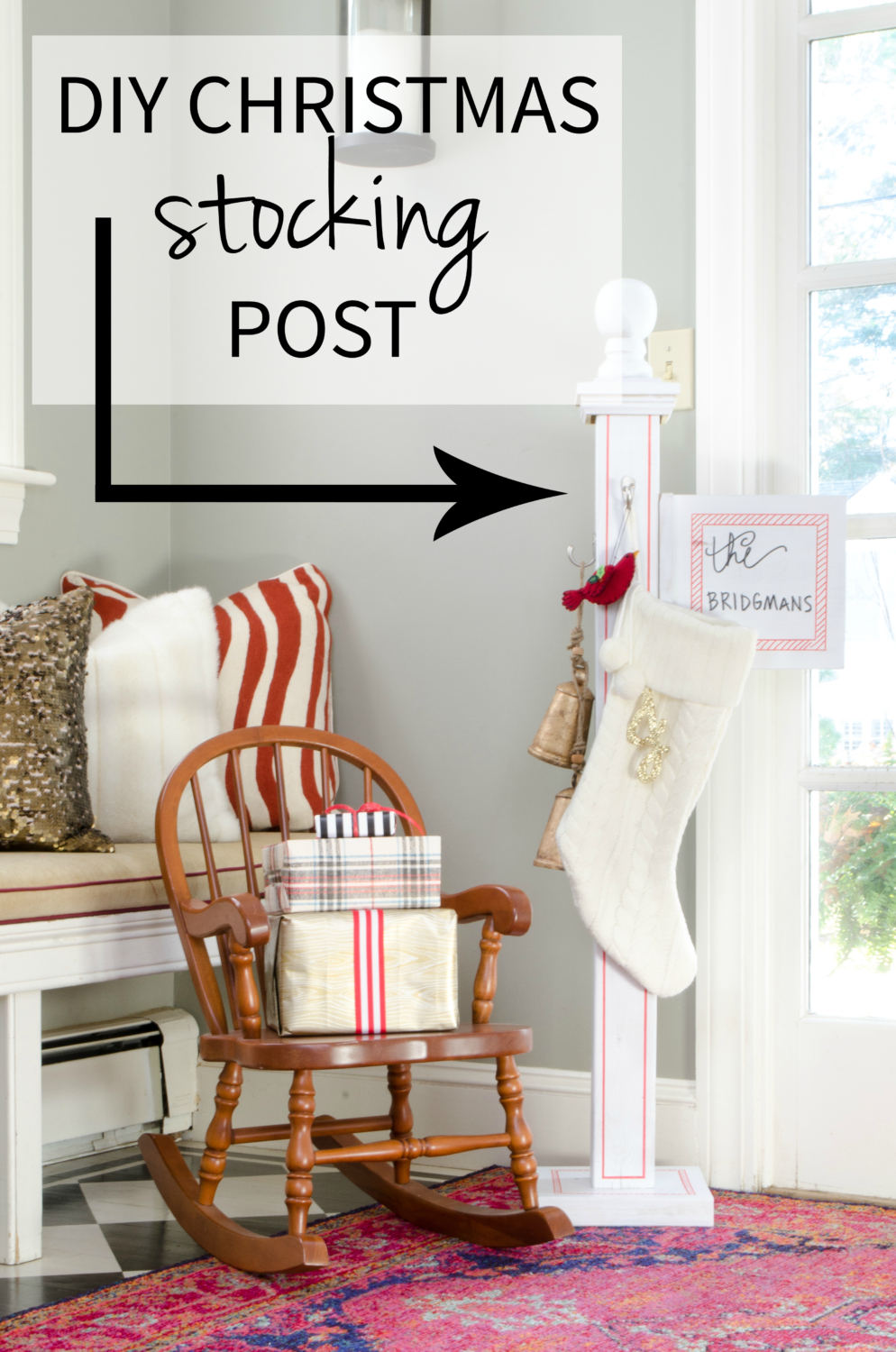 DIY Christmas stocking post - perfect if you don't have a mantle or just as a cute Christmas accent anywhere!