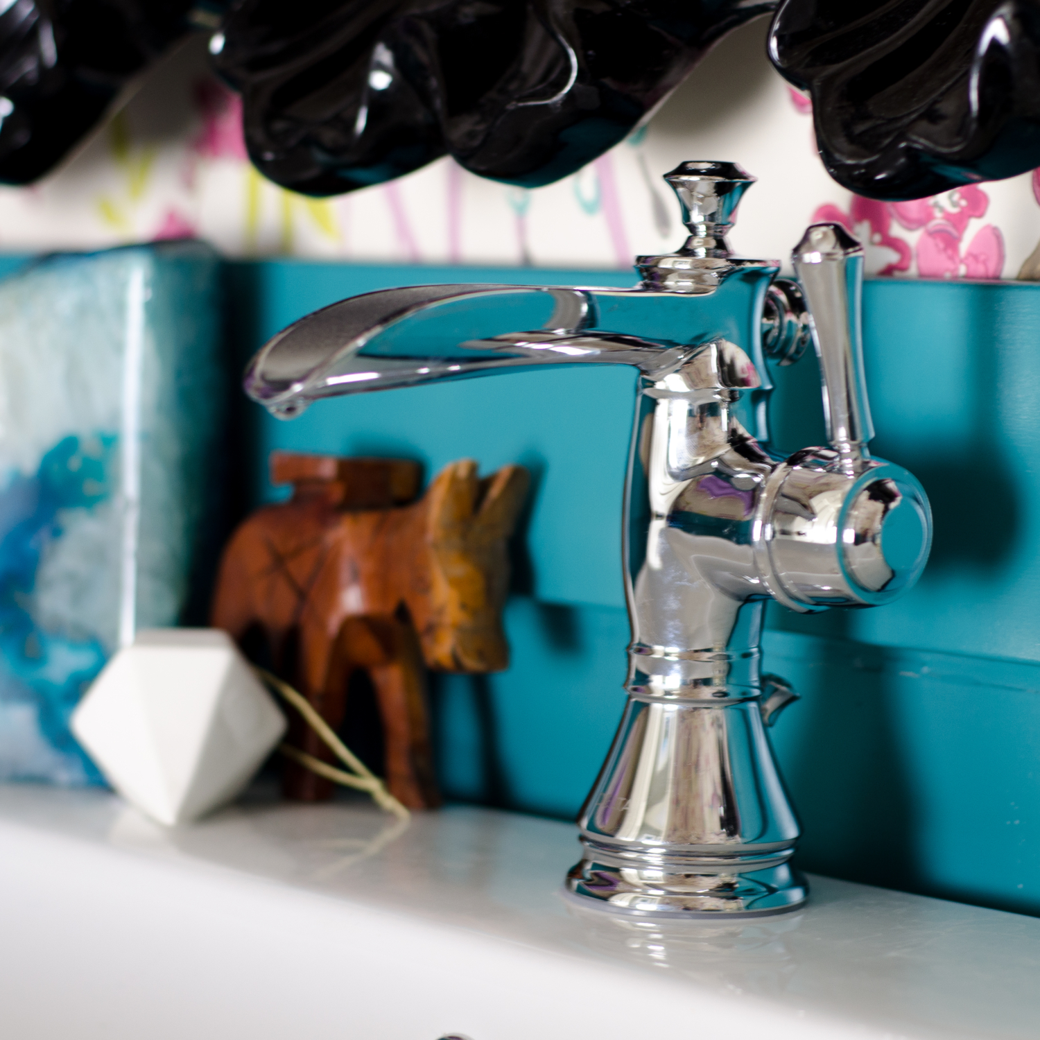 Chrome channel spout faucet