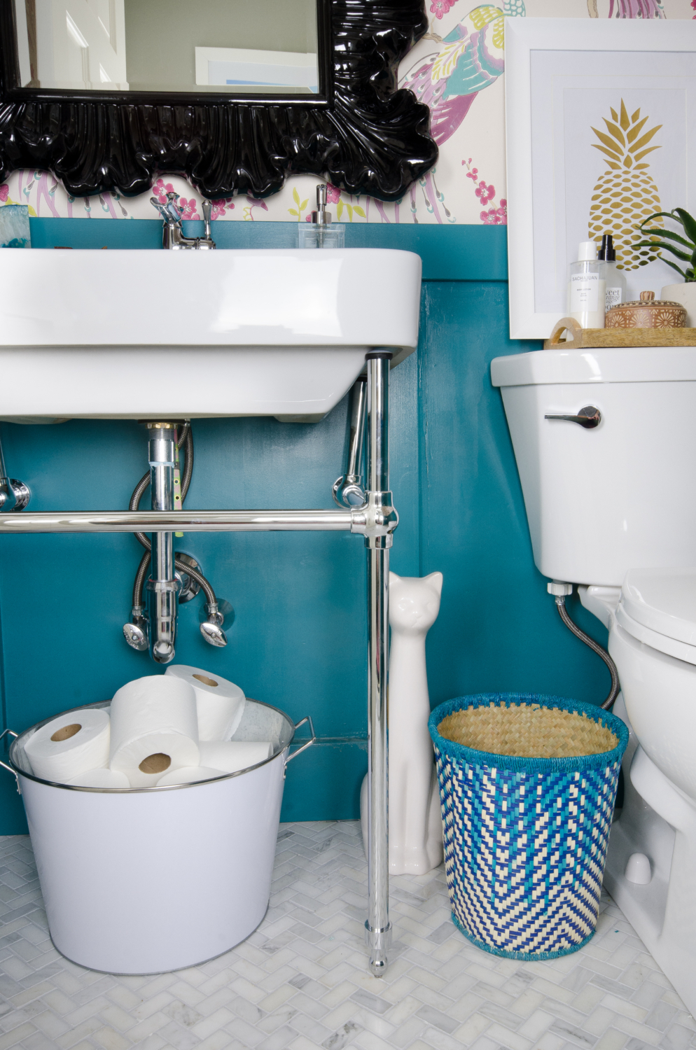 This chrome console sink is perfect for a small powder room!