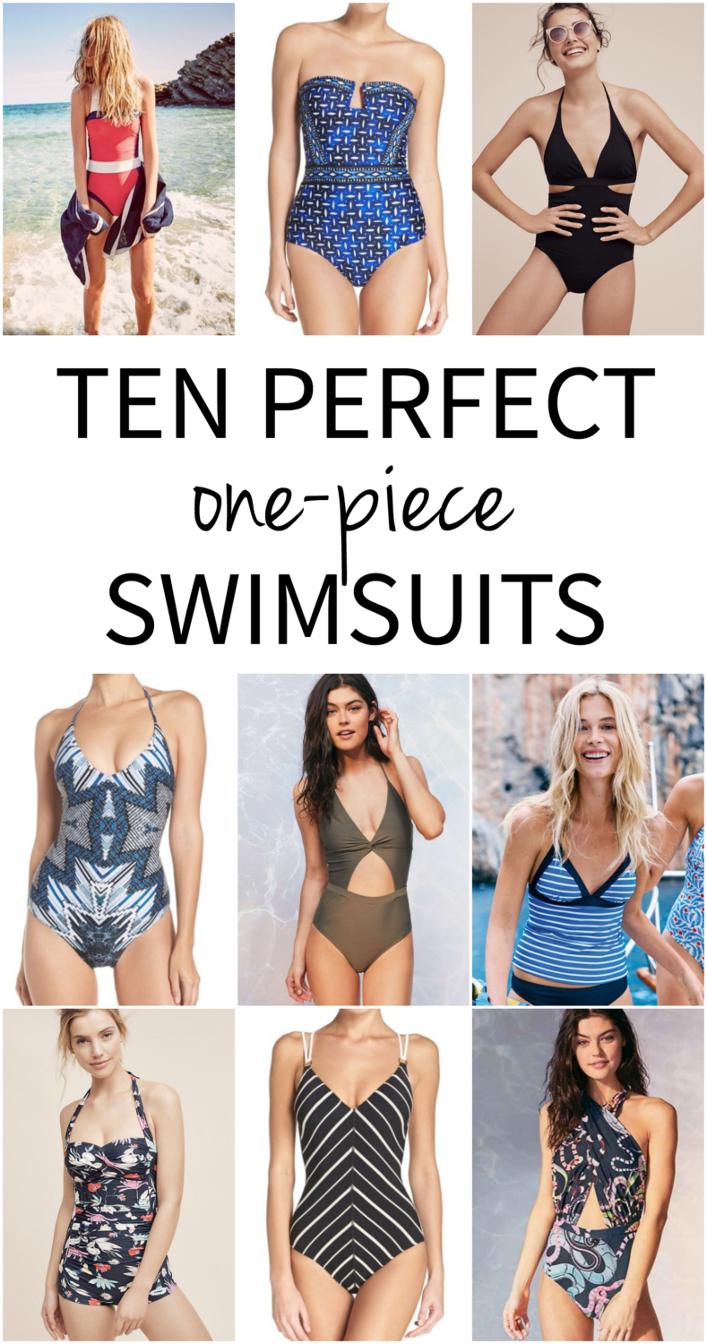 Ten perfect one piece swimsuits - cute, stylish, and pretty. Perfect for the young mom who wants a little more coverage but doesn't want to look matronly or like she's given up!