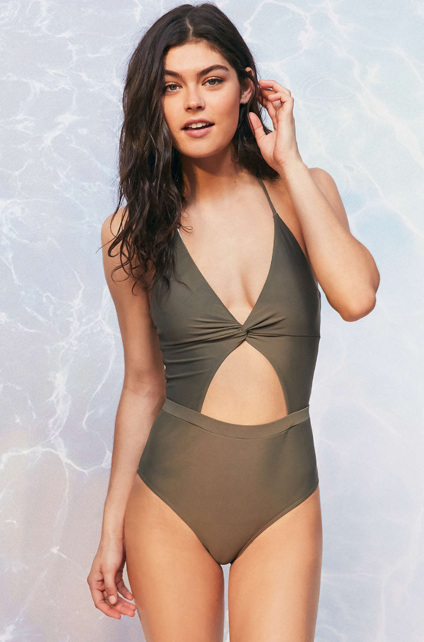 Green Cut-out Swimsuit