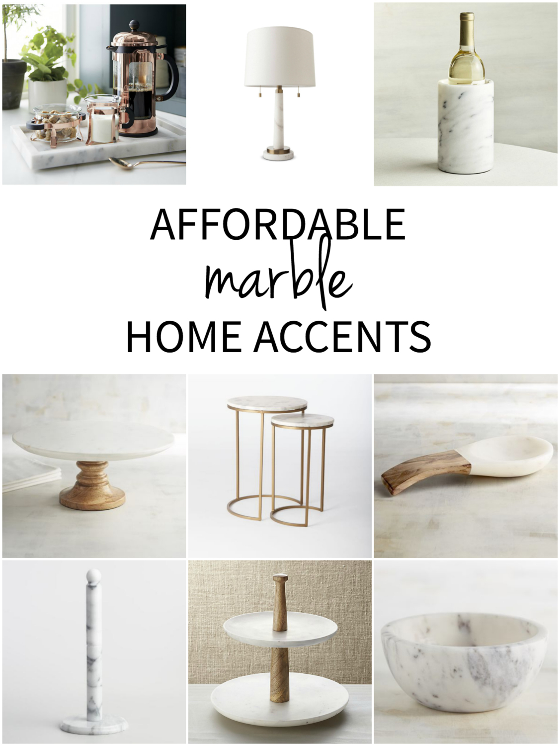 An easy to navigate collection of affordable marble home decor accents, everything from side tables and lamps to kitchen accessories.