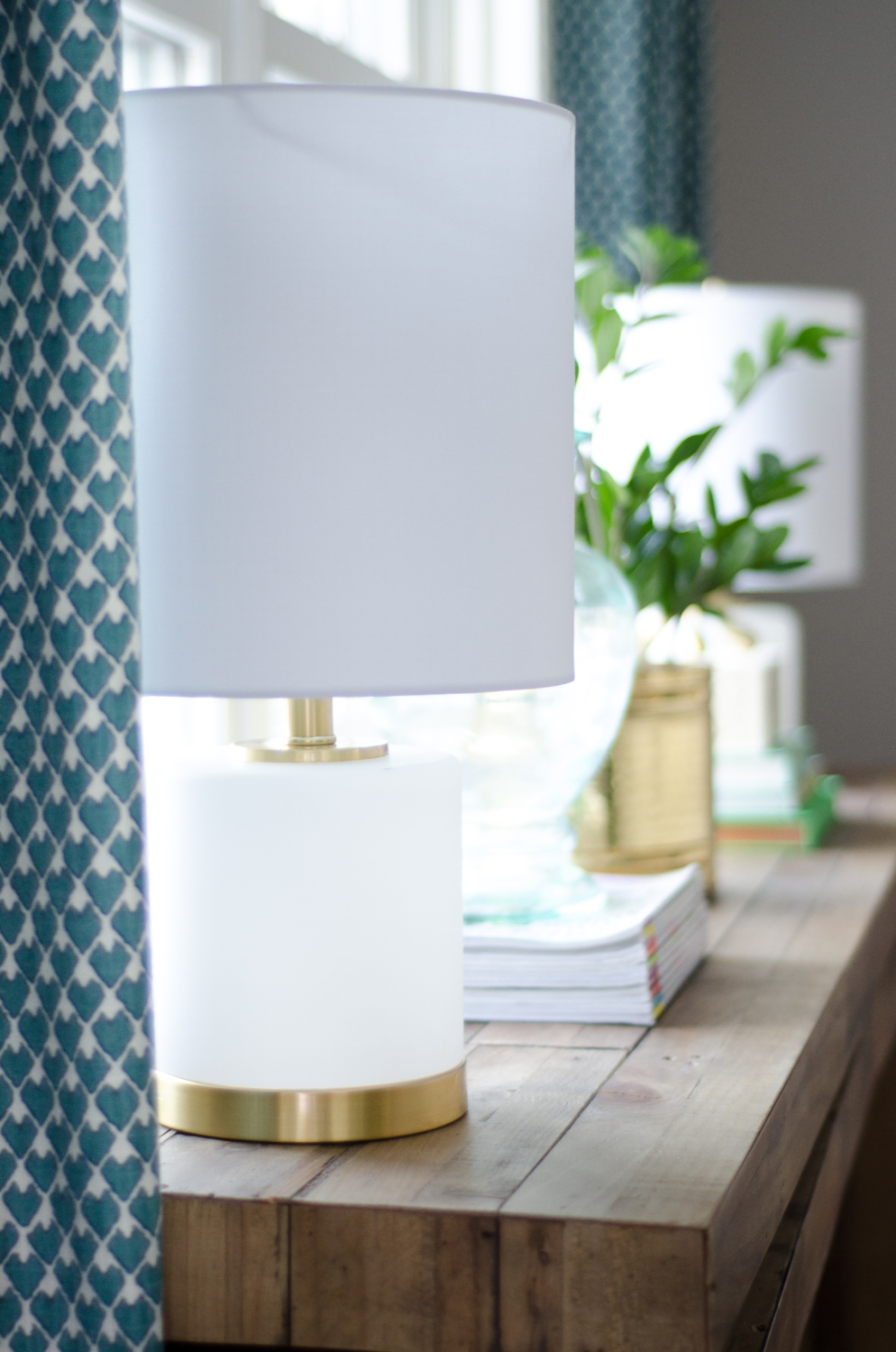 White and gold lamps