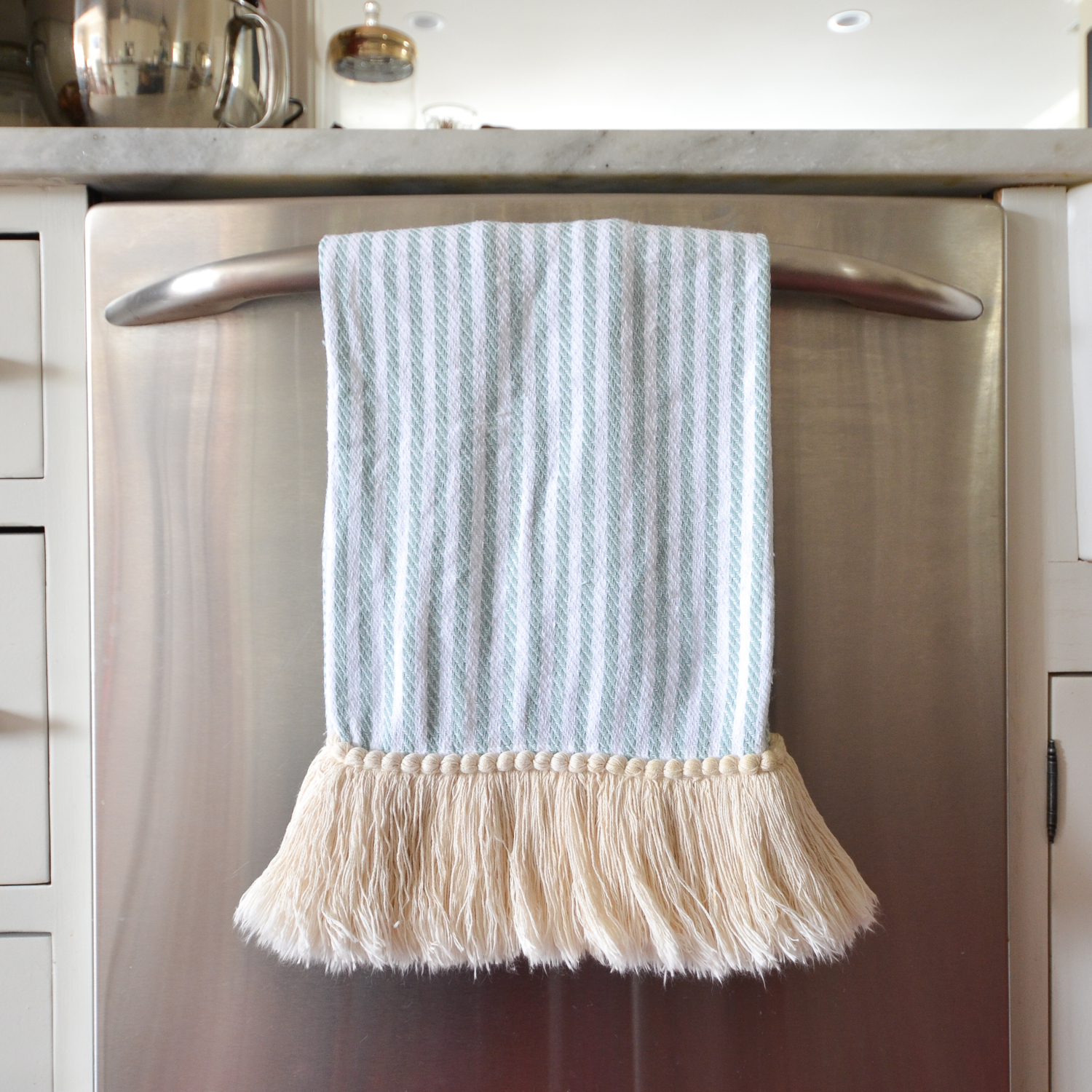 DIY fringe dishtowel