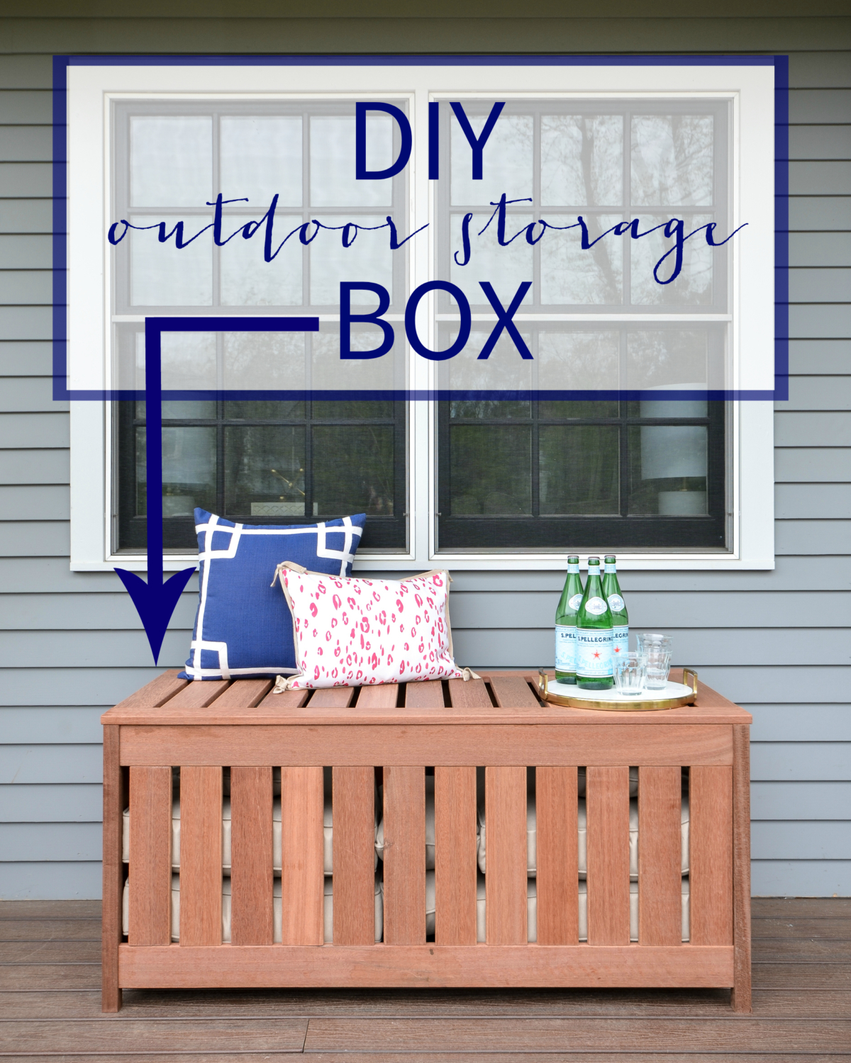 FREE plans for making a DIY outdoor storage box for outdoor cushions! Plus, it doubles as an outdoor bench seat and serving surface.