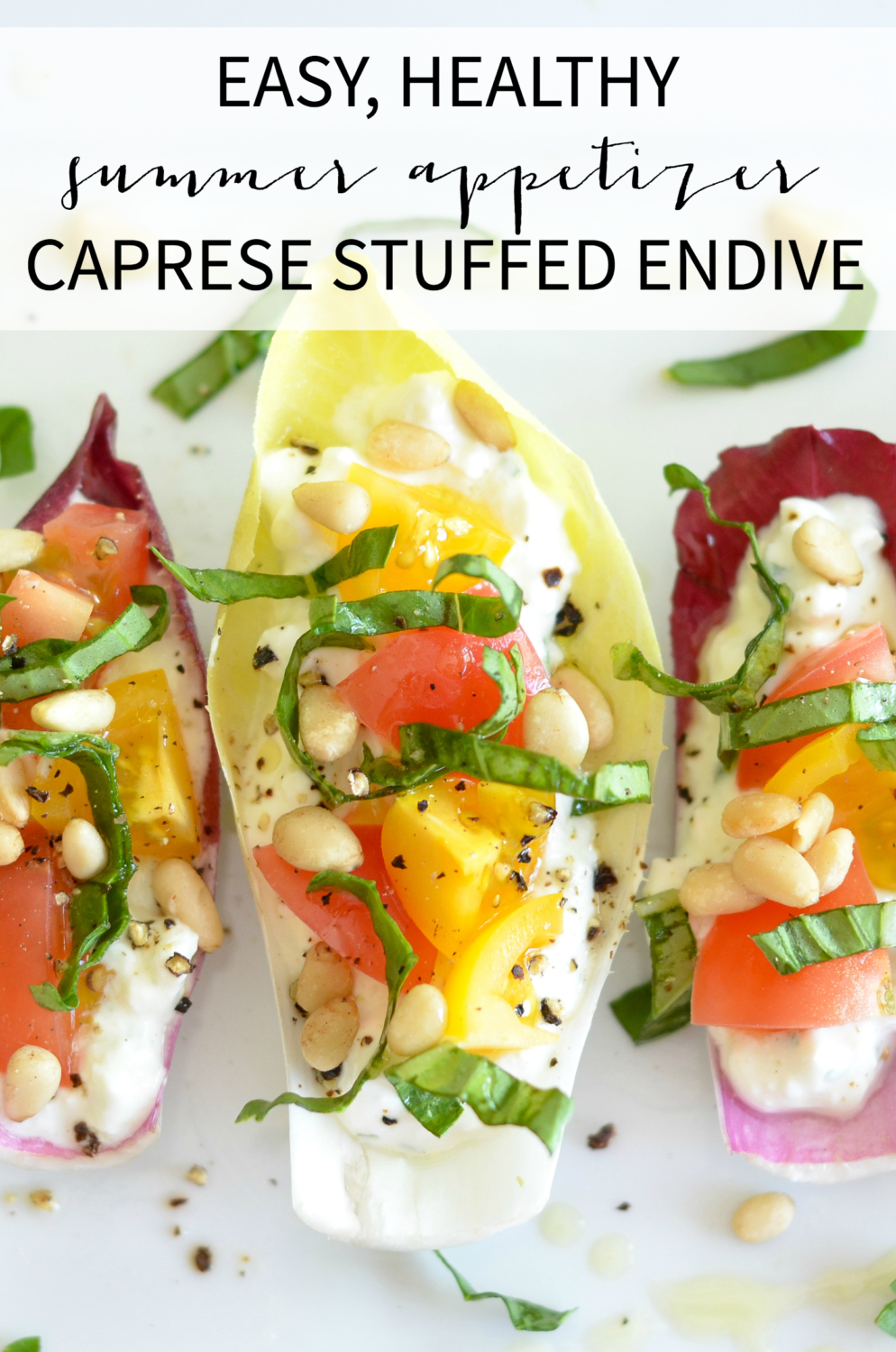 Easy stuffed endive recipe - high in protein thanks to cottage cheese! Perfect summer appetizer idea that's ready in minutes.