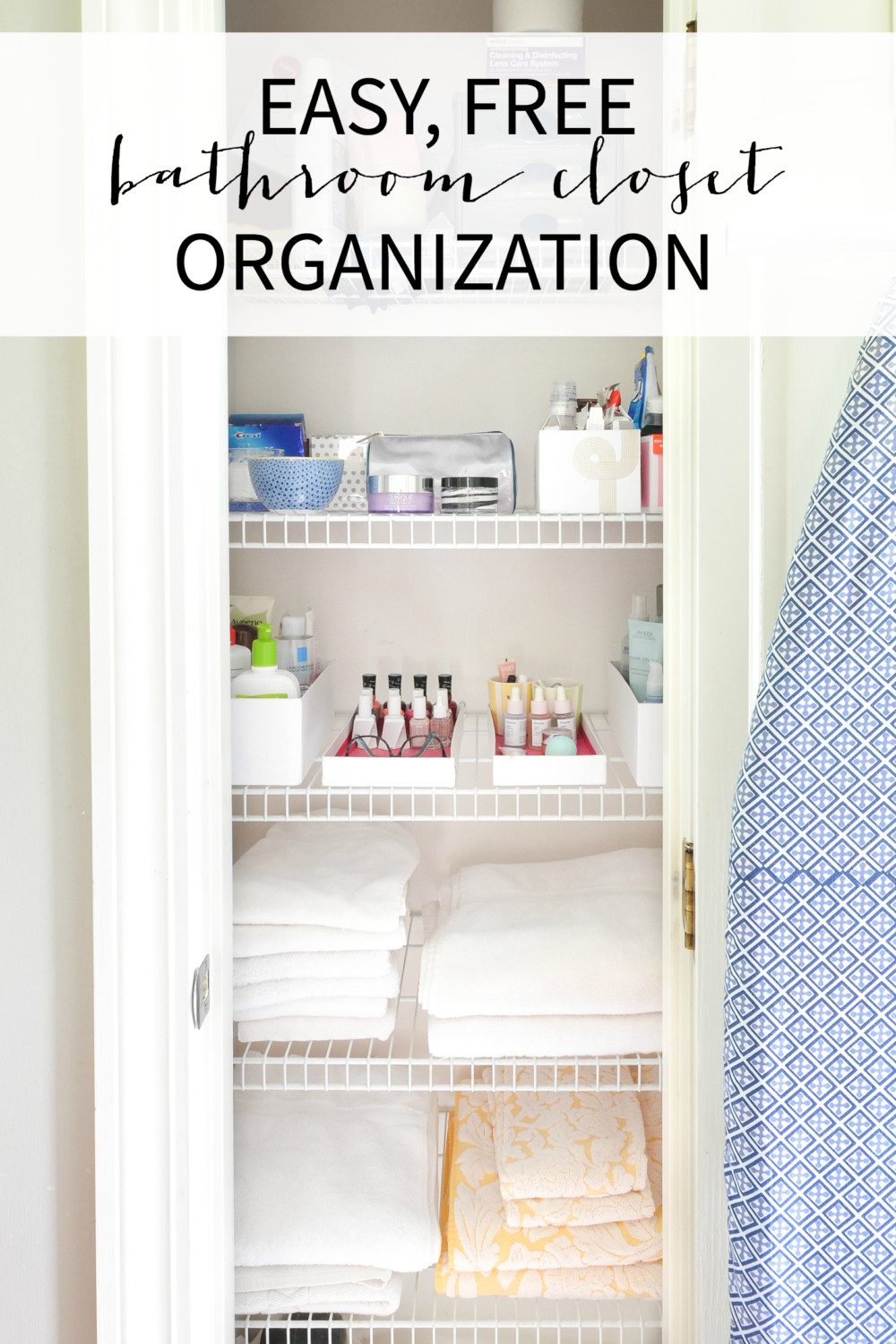 Tips for linen closet organization and bathroom organization, including a FREE way to keep all your toiletries neat and organized!