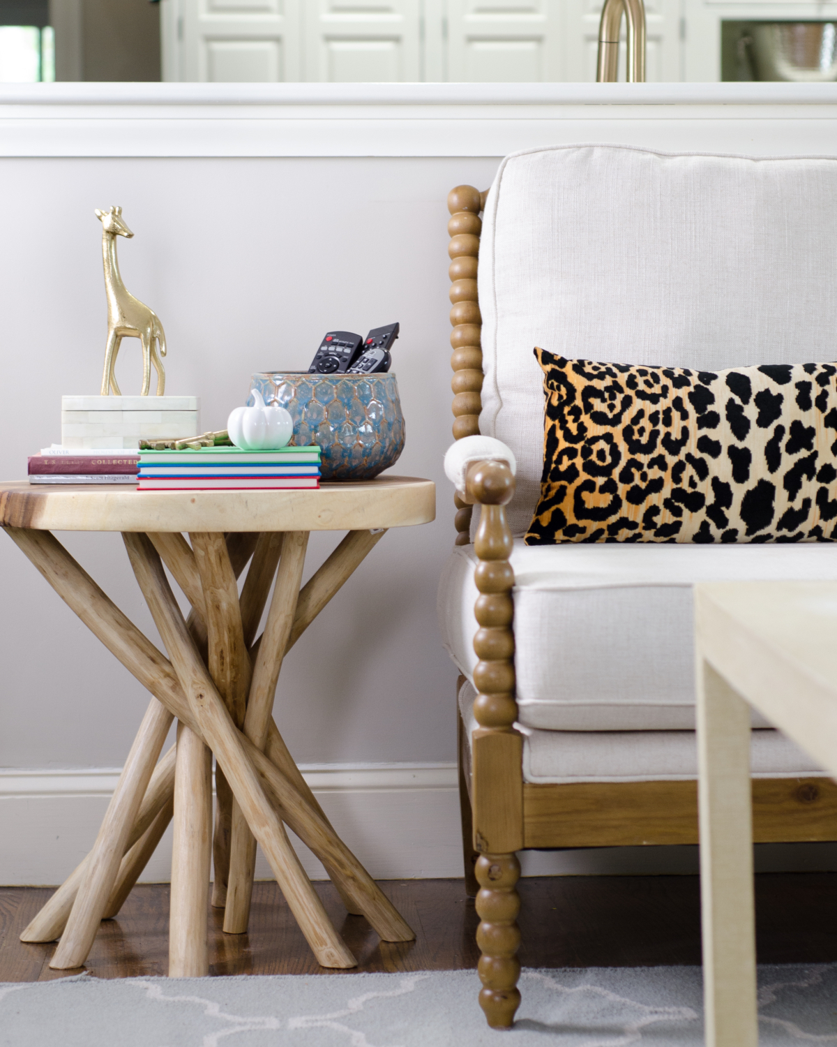 Fall leopard print pillows, spool chair, branch side table, plus ten simple, easy fall decorating ideas you can bring into your home this season for perfect, subtle fall charm.