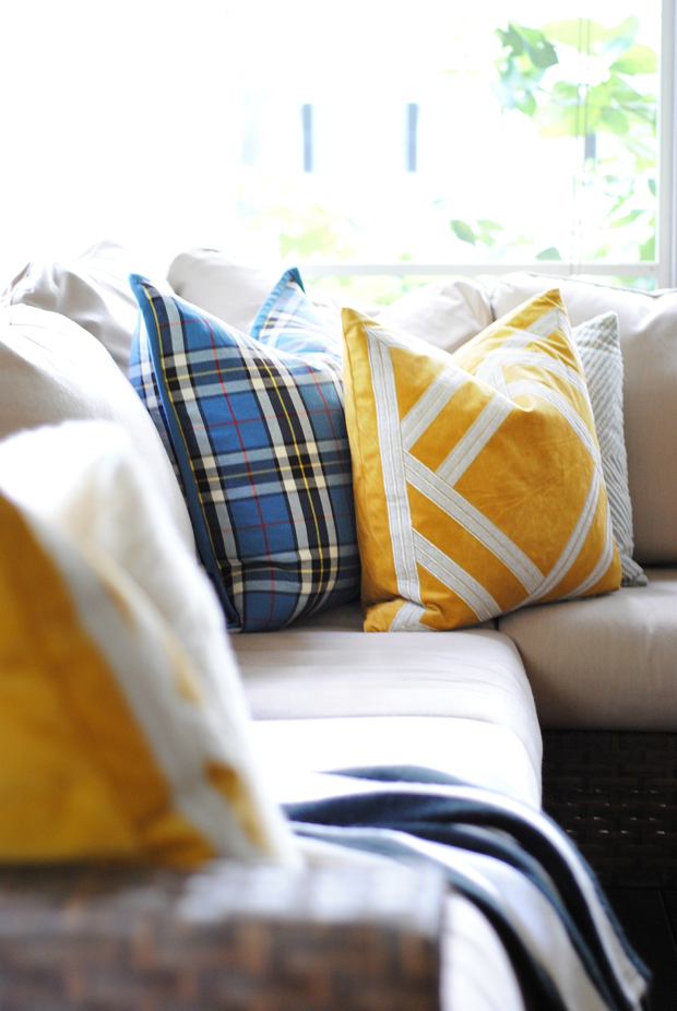Fall mustard yellow pillows plus ten simple, easy fall decorating ideas you can bring into your home this season for perfect, subtle fall charm.