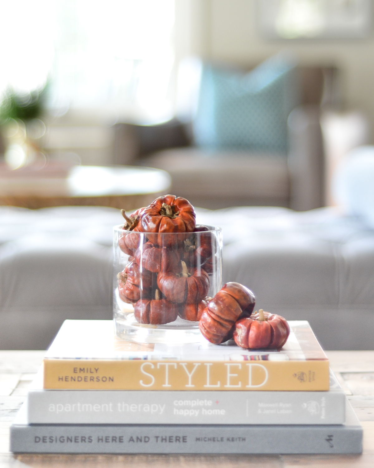Simple fall decorating with mini pumpkins