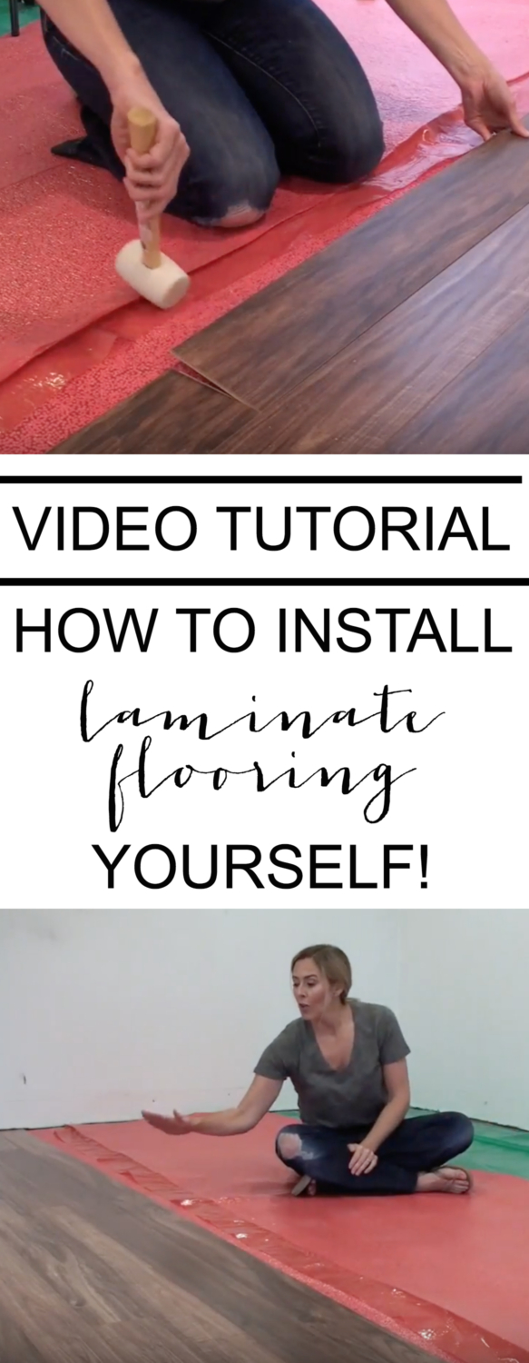 A video tutorial showing how to install a laminate floor, including a materials list, step-by-step directions, and installation tips!
