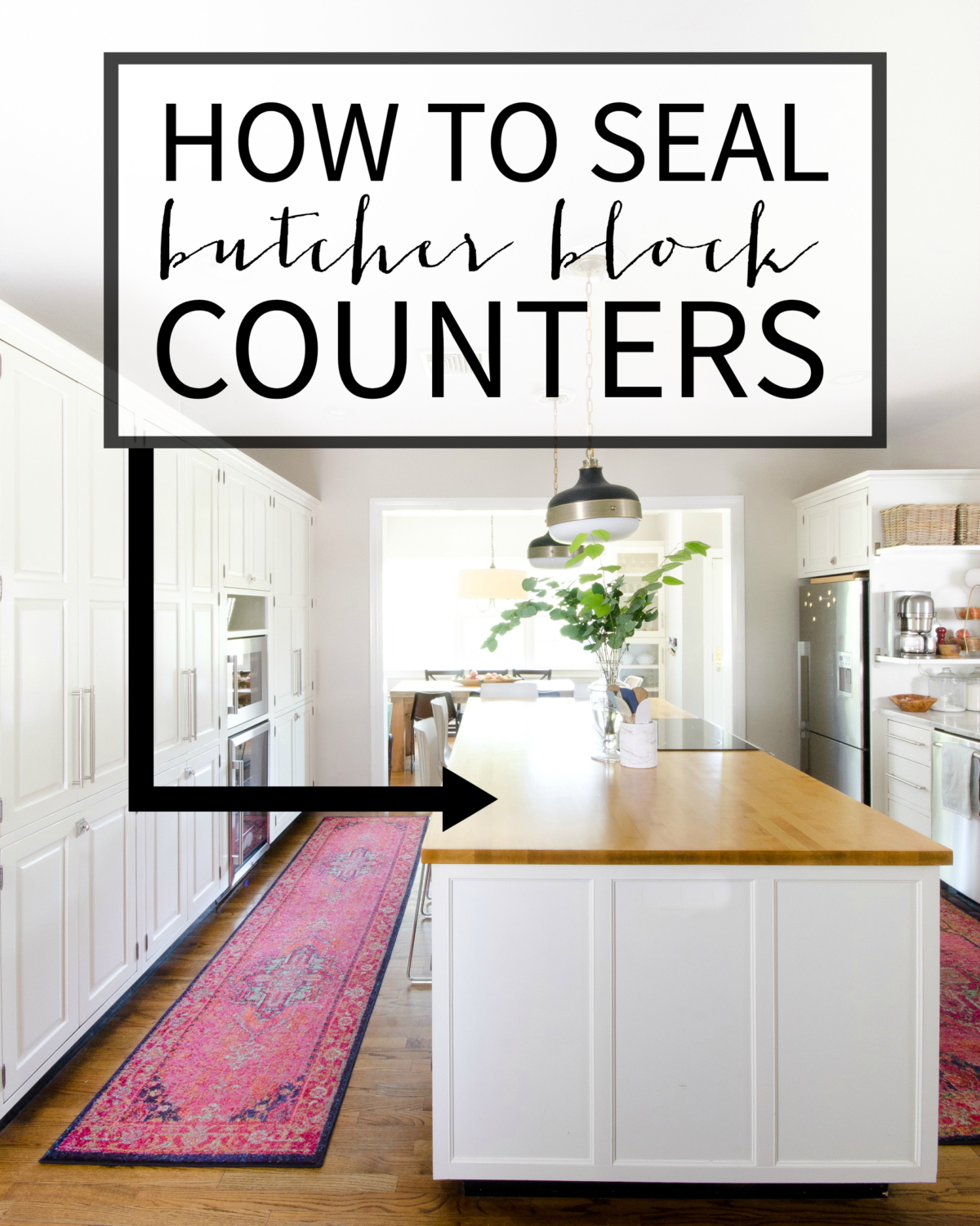 How to seal butcher block counters - step-by-step directions from someone who has lived with them for four years and has refinished them twice!