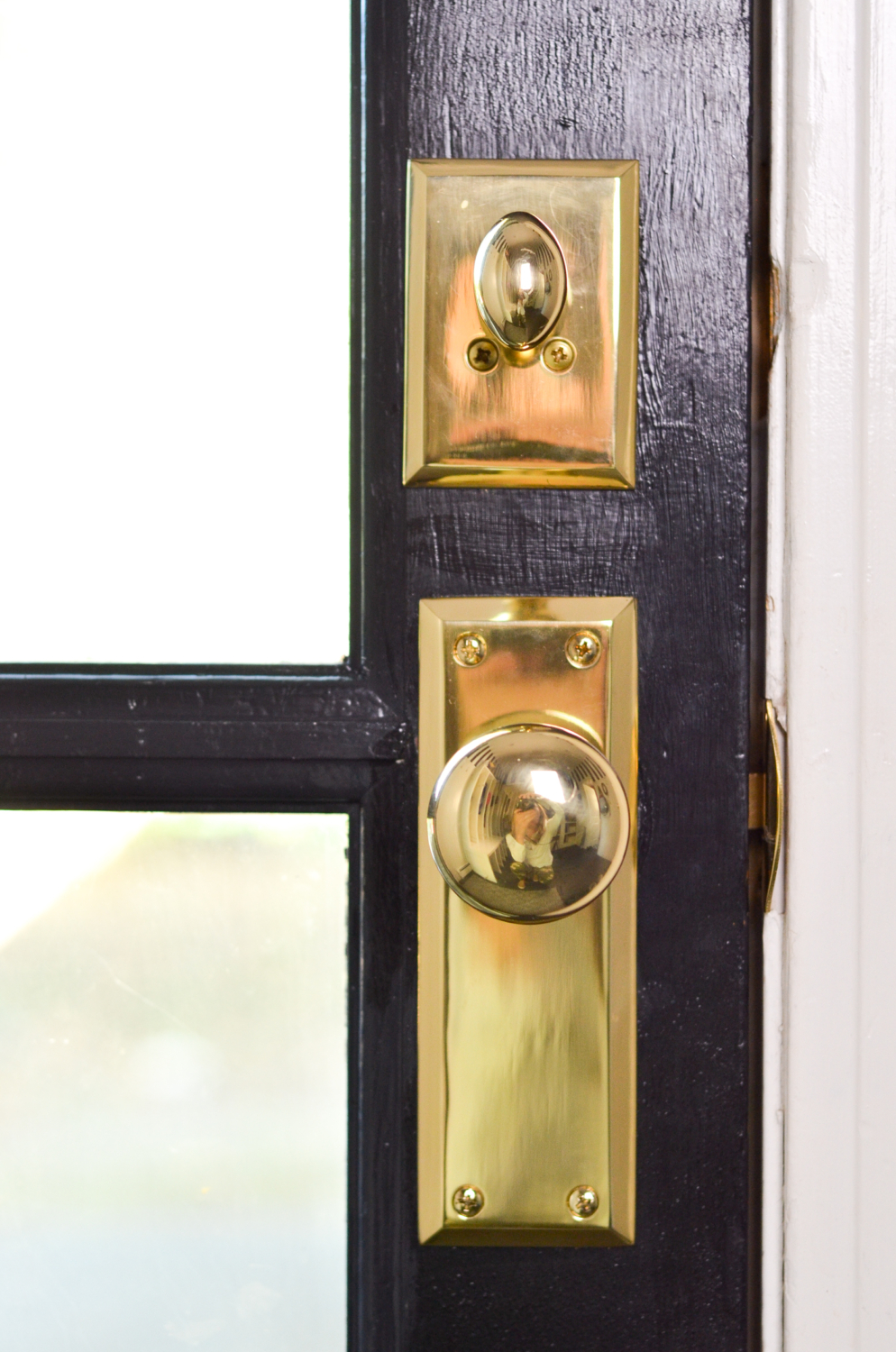 Vintage Style, Chunky Brass Doorknobs with Backplates