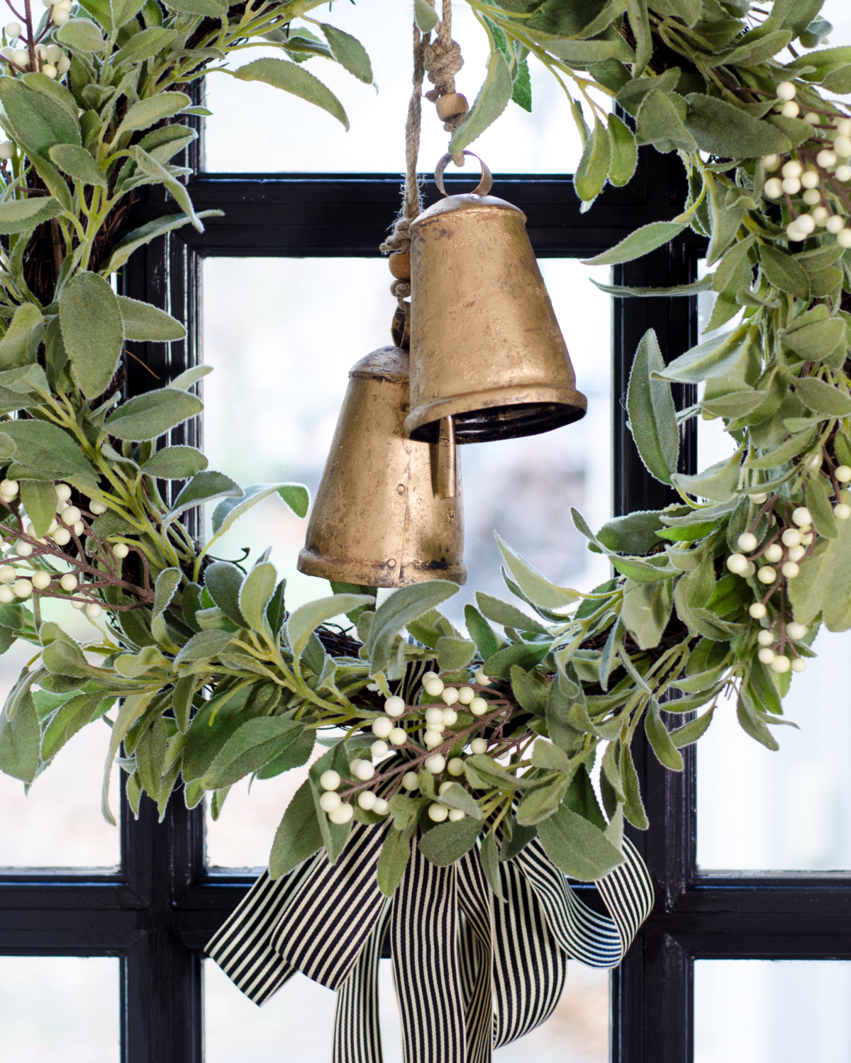 Green wreath with gold bells - classic Christmas. 2017 Holiday Housewalk