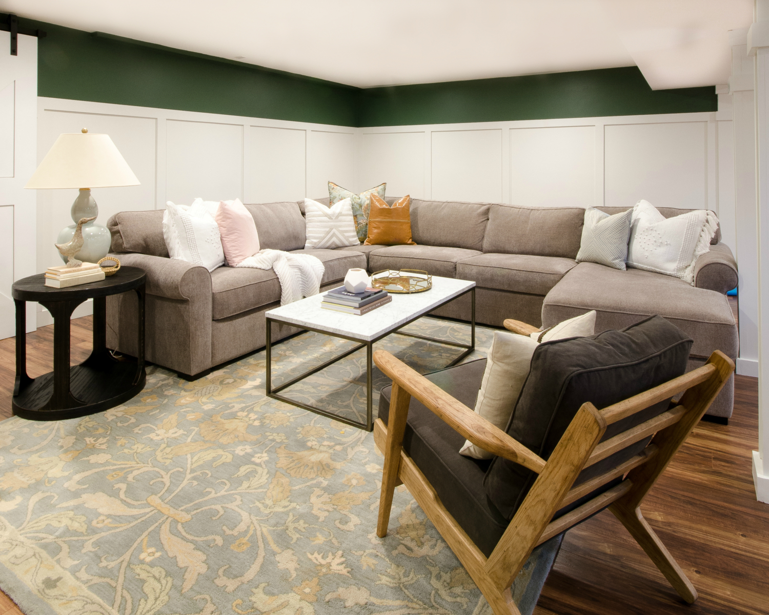 Finished basement family room sources for this space that perfectly marries style and family-friendly