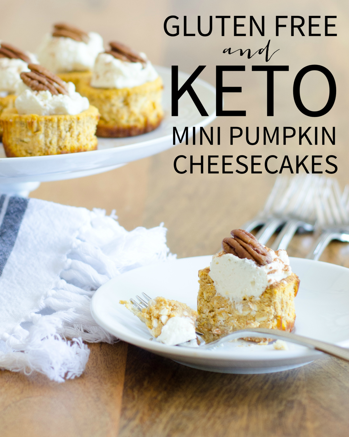 Gluten free and keto mini pumpkin cheesecakes are a perfect fall treat. All the pumpkin spice flavors you love and only 1.8 g of net carbs!