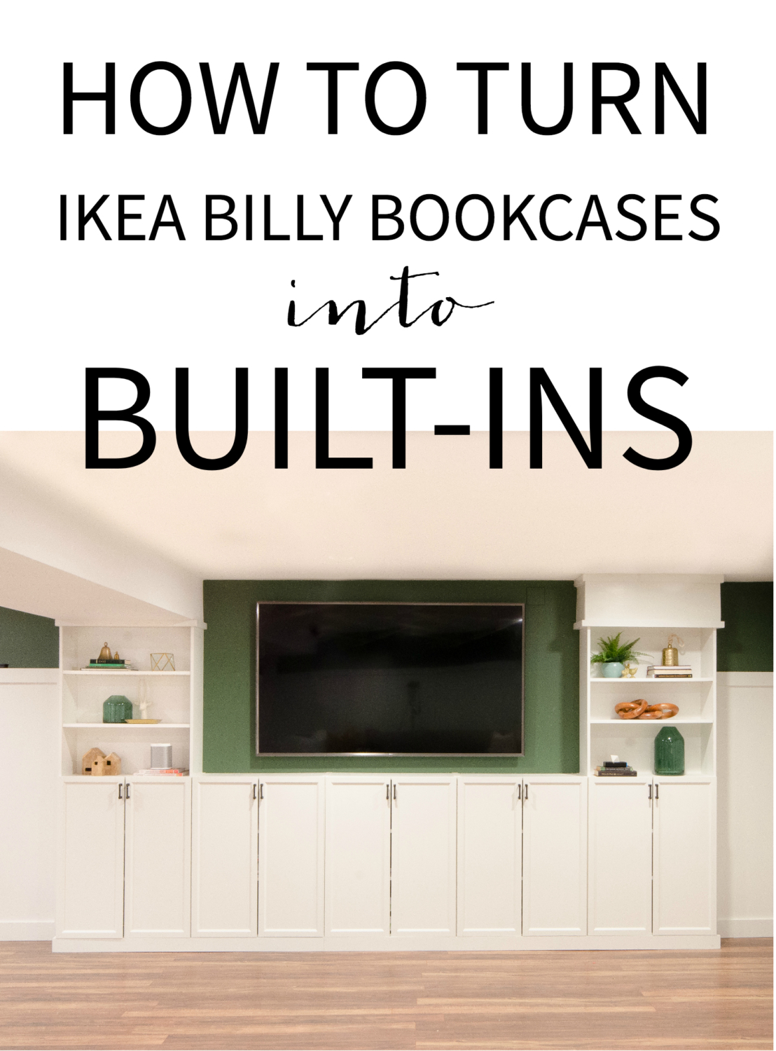 Free tutorial showing how to turn Ikea Billy bookcases into built ins. An easy and cost-effective way to get a high-end, custom look!