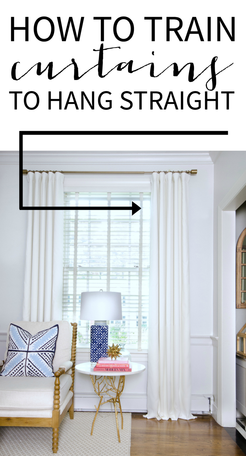 A quick and easy tutorial showing you how to get curtains to hang straight for a high end, polished look.