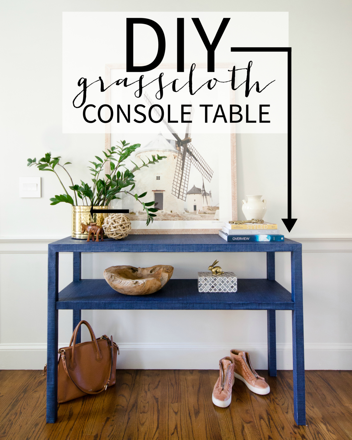 DIY grasscloth table - full tutorial for how to build this grasscloth console table yourself. Perfect for entryway, sideboard, or large nightstand.