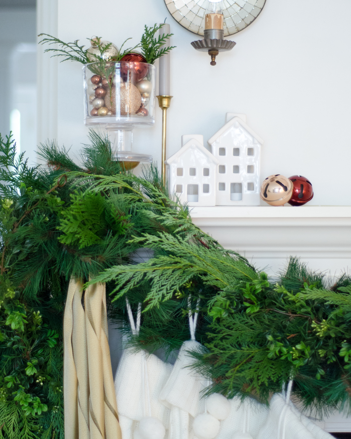 Neutral Christmas mantle with green, gold, and white