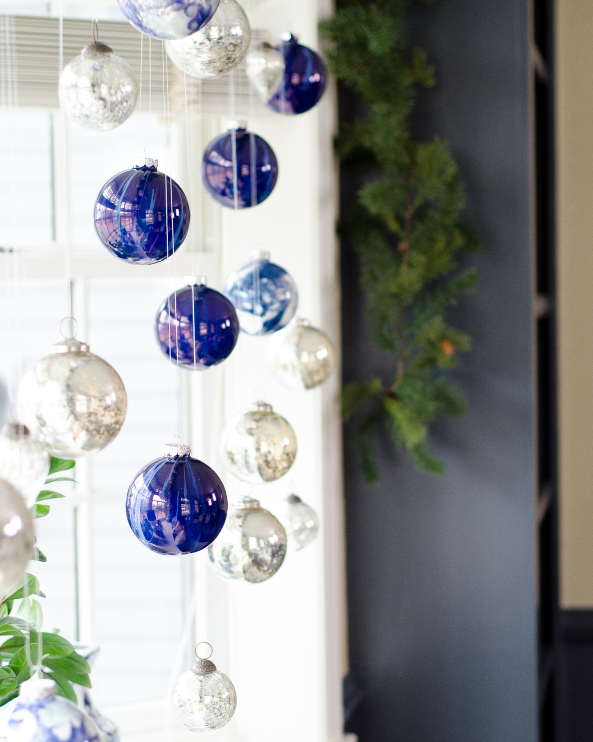 Christmas blue and white ornament window