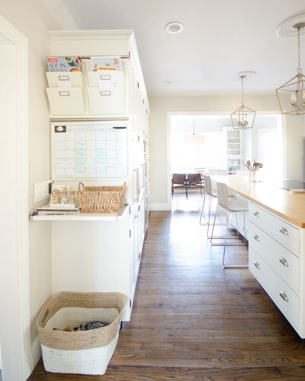 Affordable and easy kitchen organization ideas including how to organize papers.
