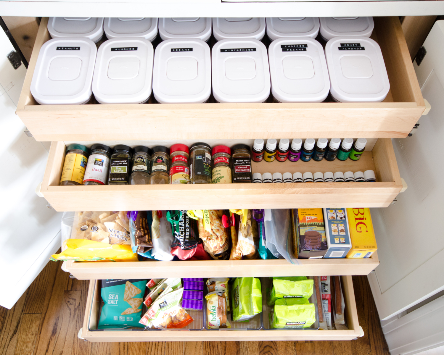 Affordable and easy kitchen organization ideas including how to organize snacks.
