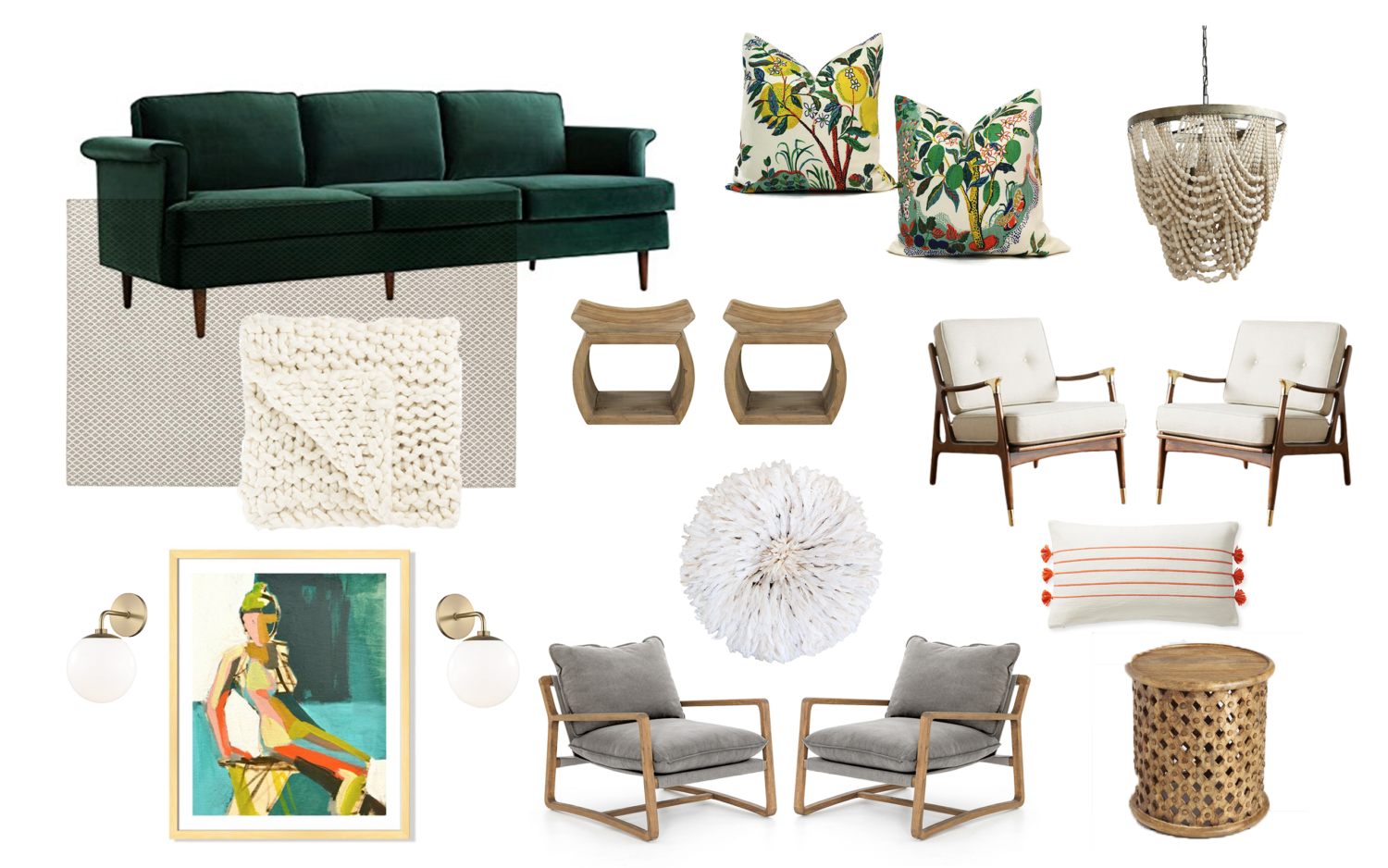 Cozy living room plans with full sources. The design includes a green velvet sofa, comfy lounge chairs, and lots of textural elements.