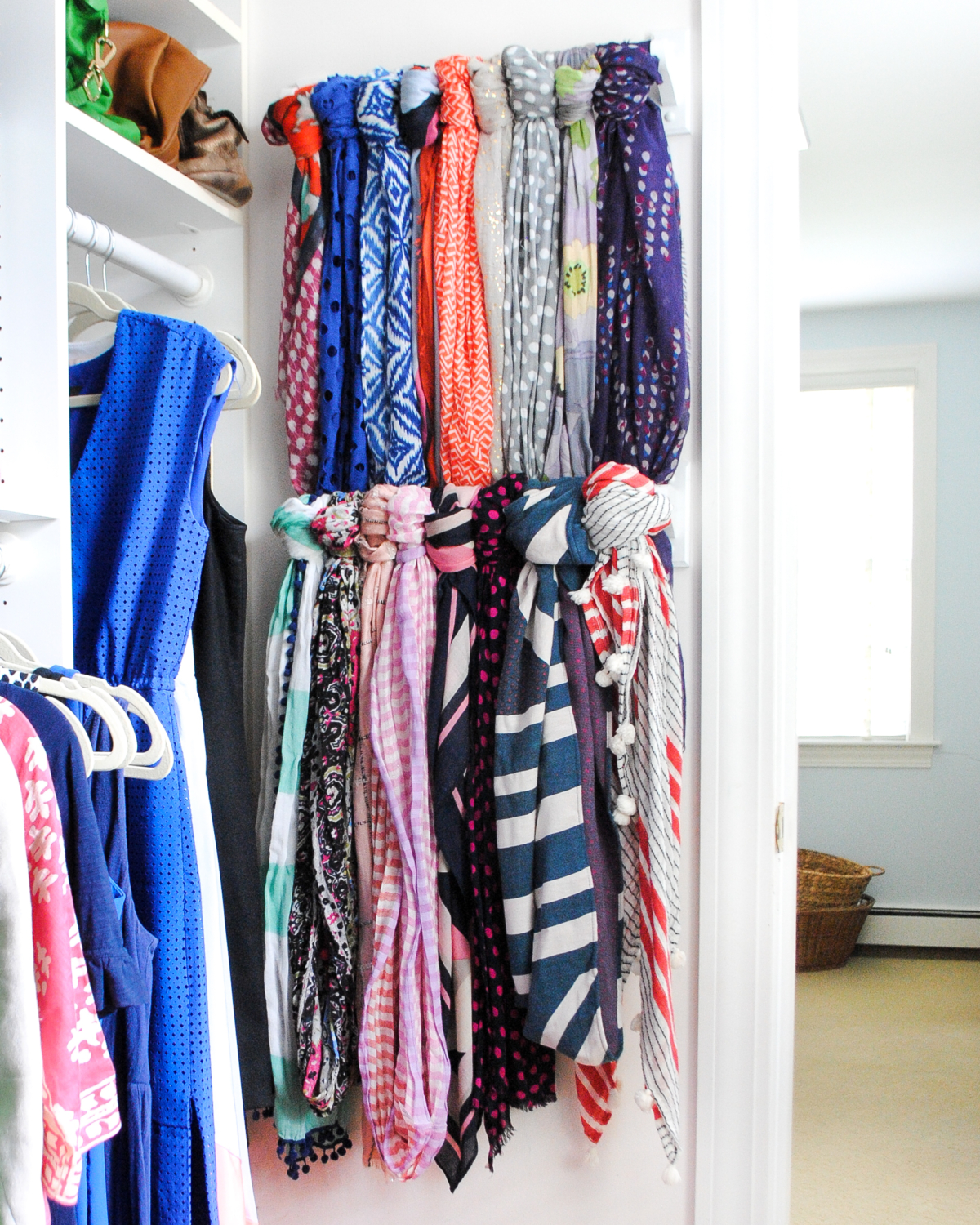 Easy and inexpensive DIY scarf organizer